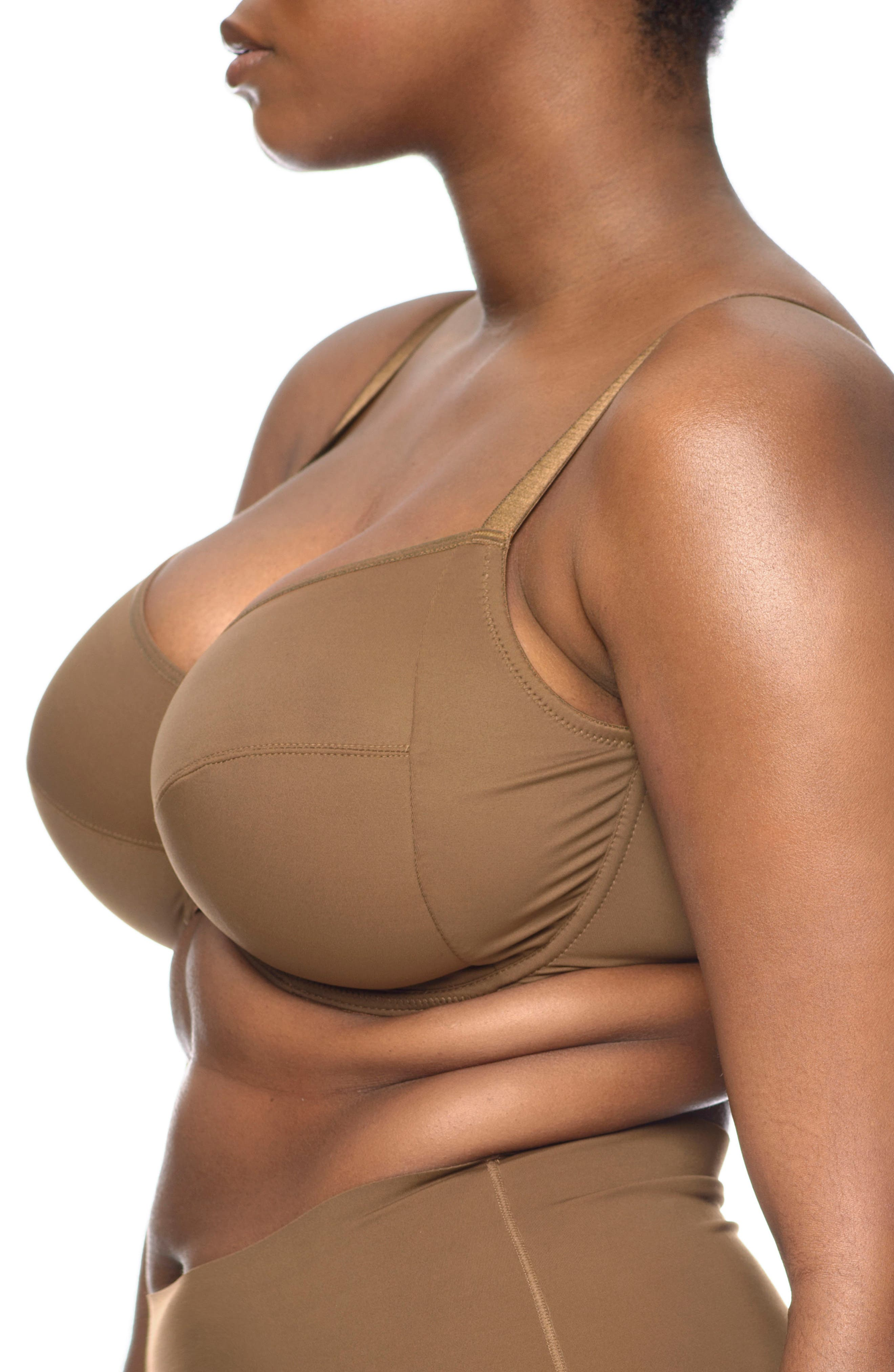 Naked Full Figure Underwire Bra,                             Alternate thumbnail 3, color,                             Berry