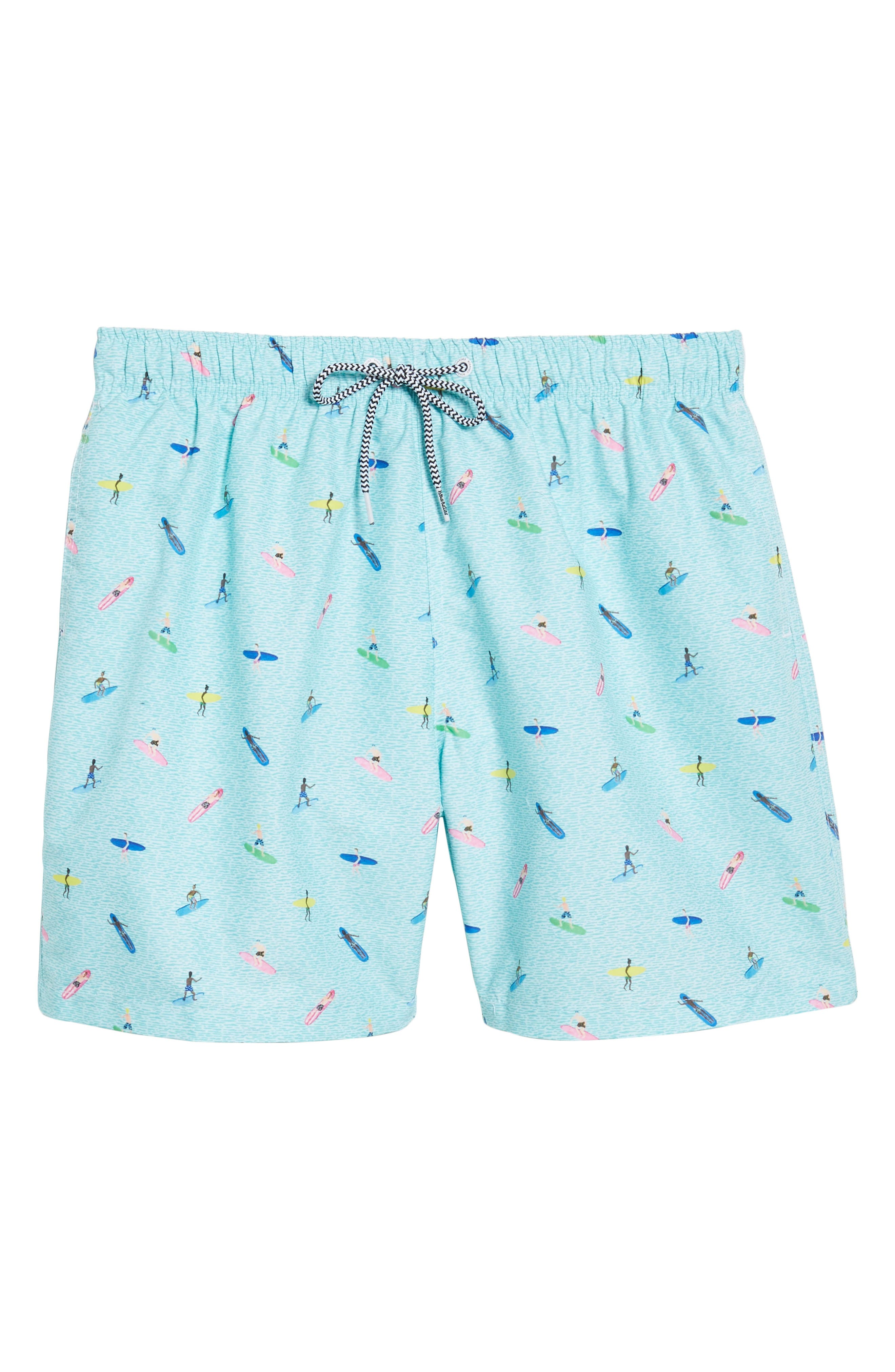 Sayulita Print Swim Shorts,                             Alternate thumbnail 6, color,                             Aqua Green