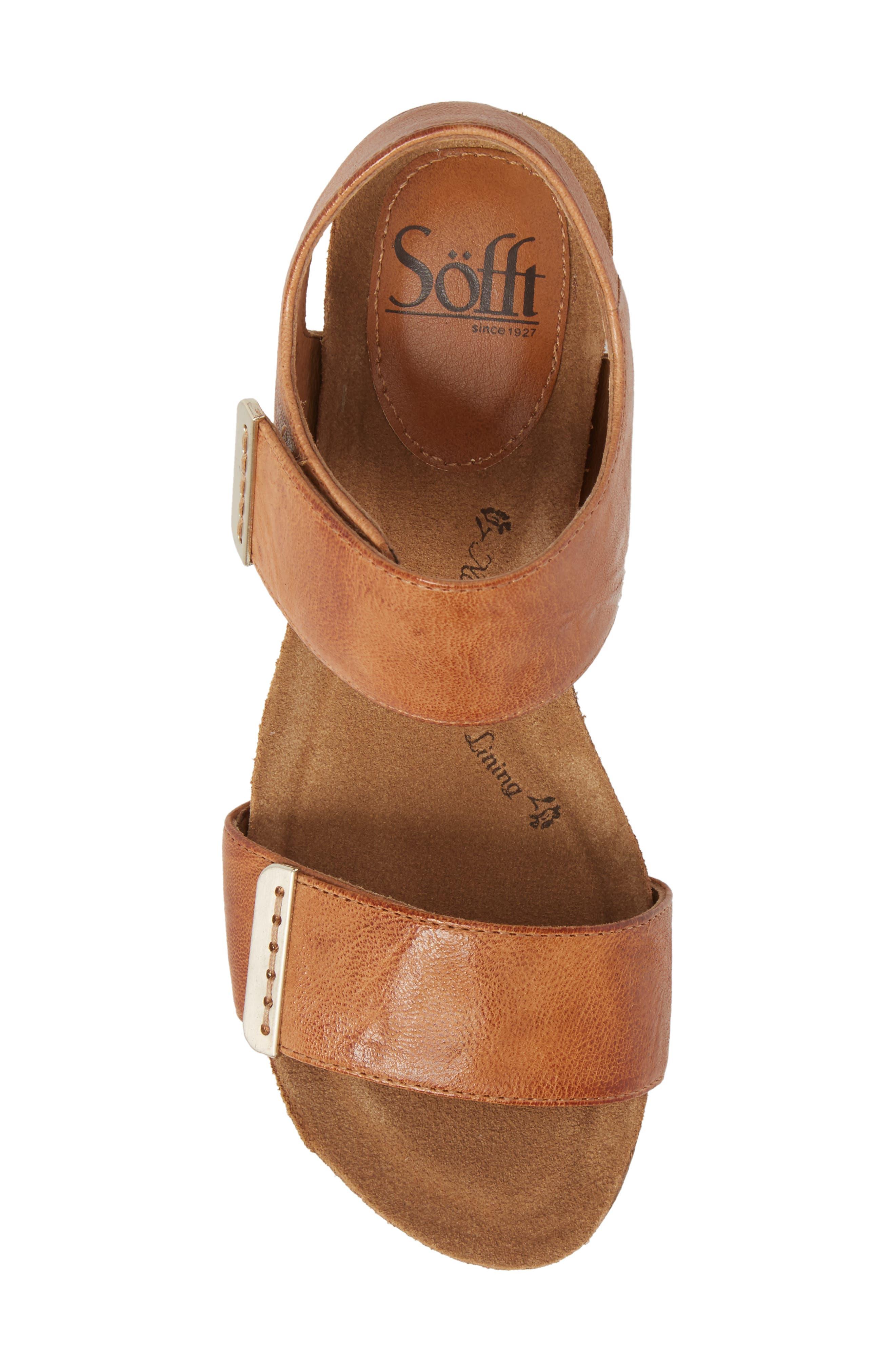 Verdi Wedge Sandal,                             Alternate thumbnail 5, color,                             Luggage Leather