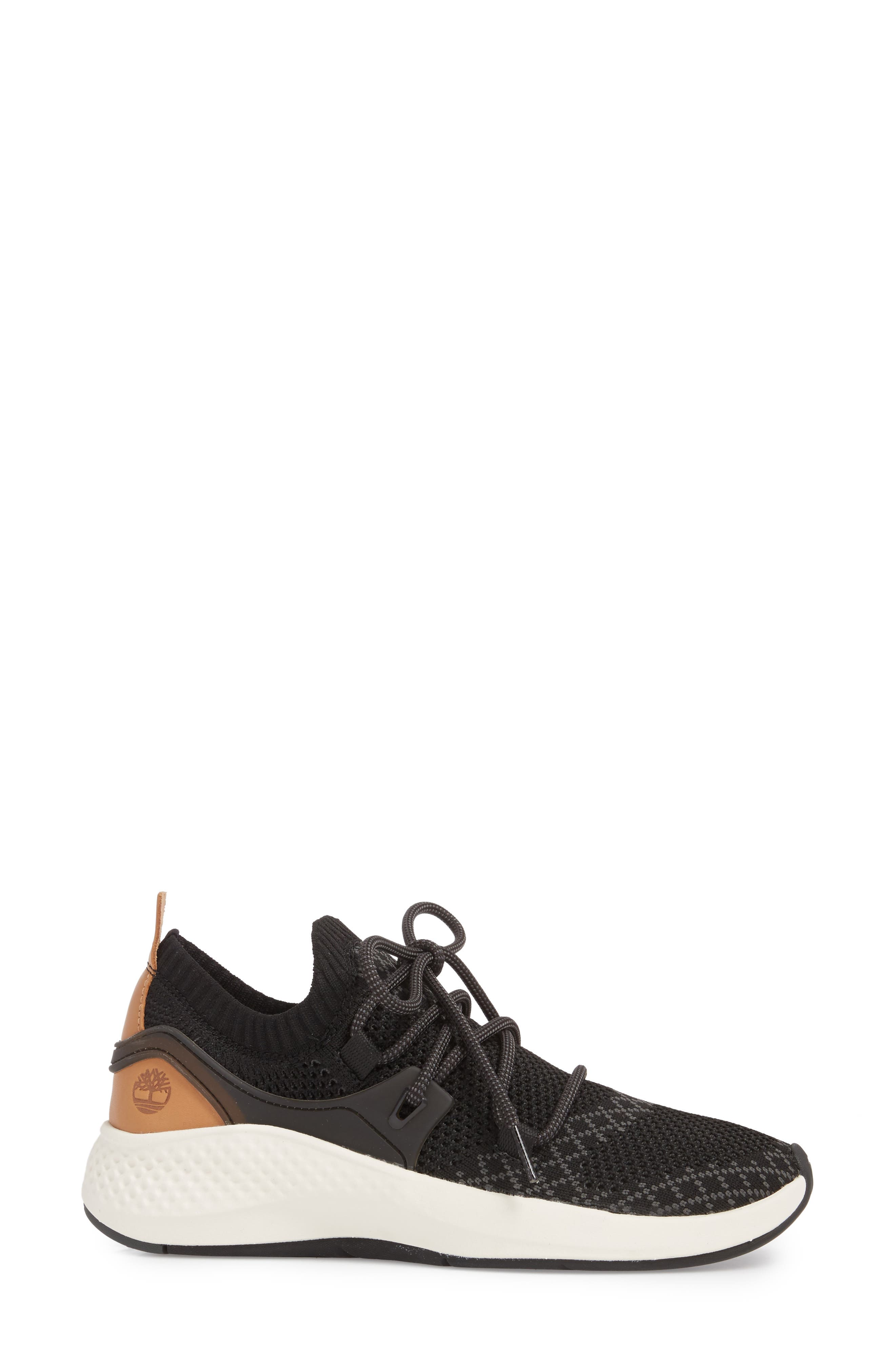 FlyRoam Go Knit Sneaker,                             Alternate thumbnail 3, color,                             Black Fabric