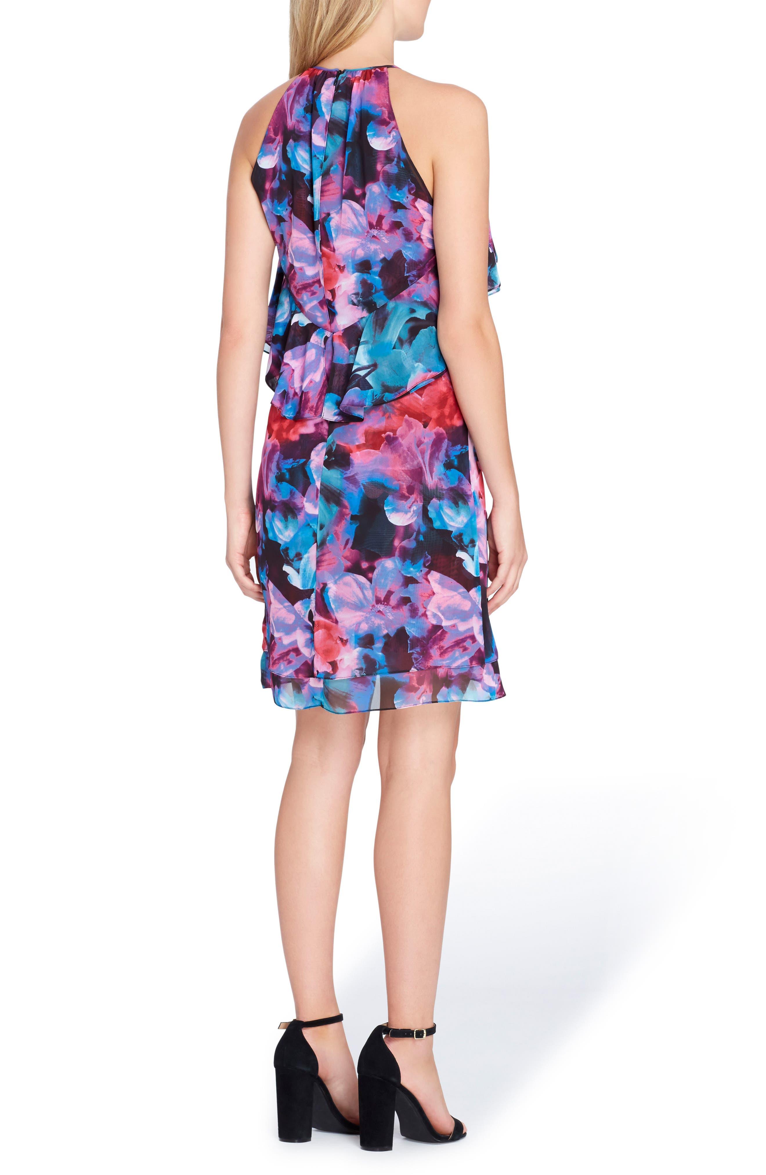 Sleeveless Floral Ruffle Chiffon Dress,                             Alternate thumbnail 2, color,                             Black/ Red/ Aqua