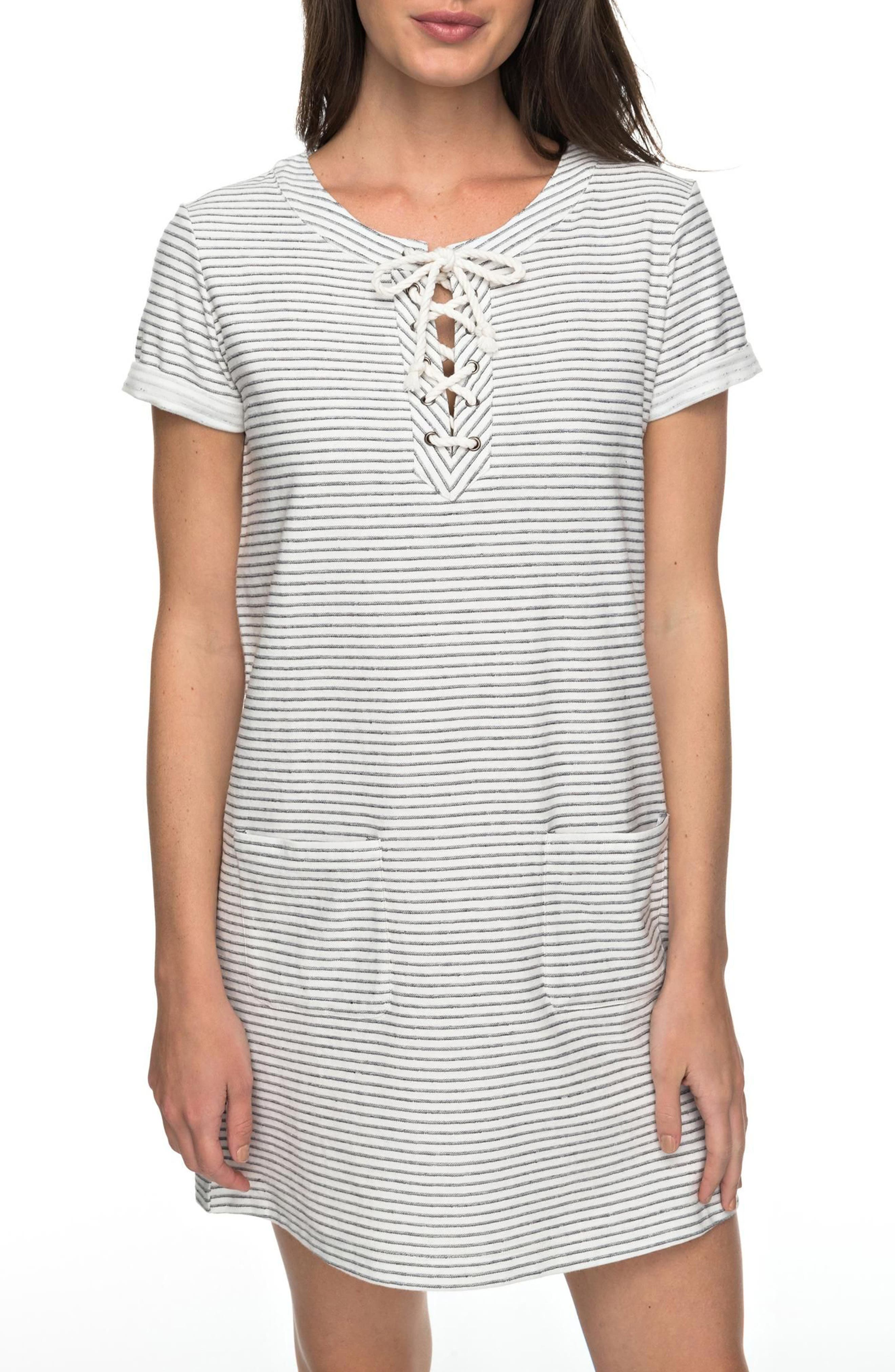 Beyond the Ocean Stripe Lace-Up Dress,                         Main,                         color, Marshmallow