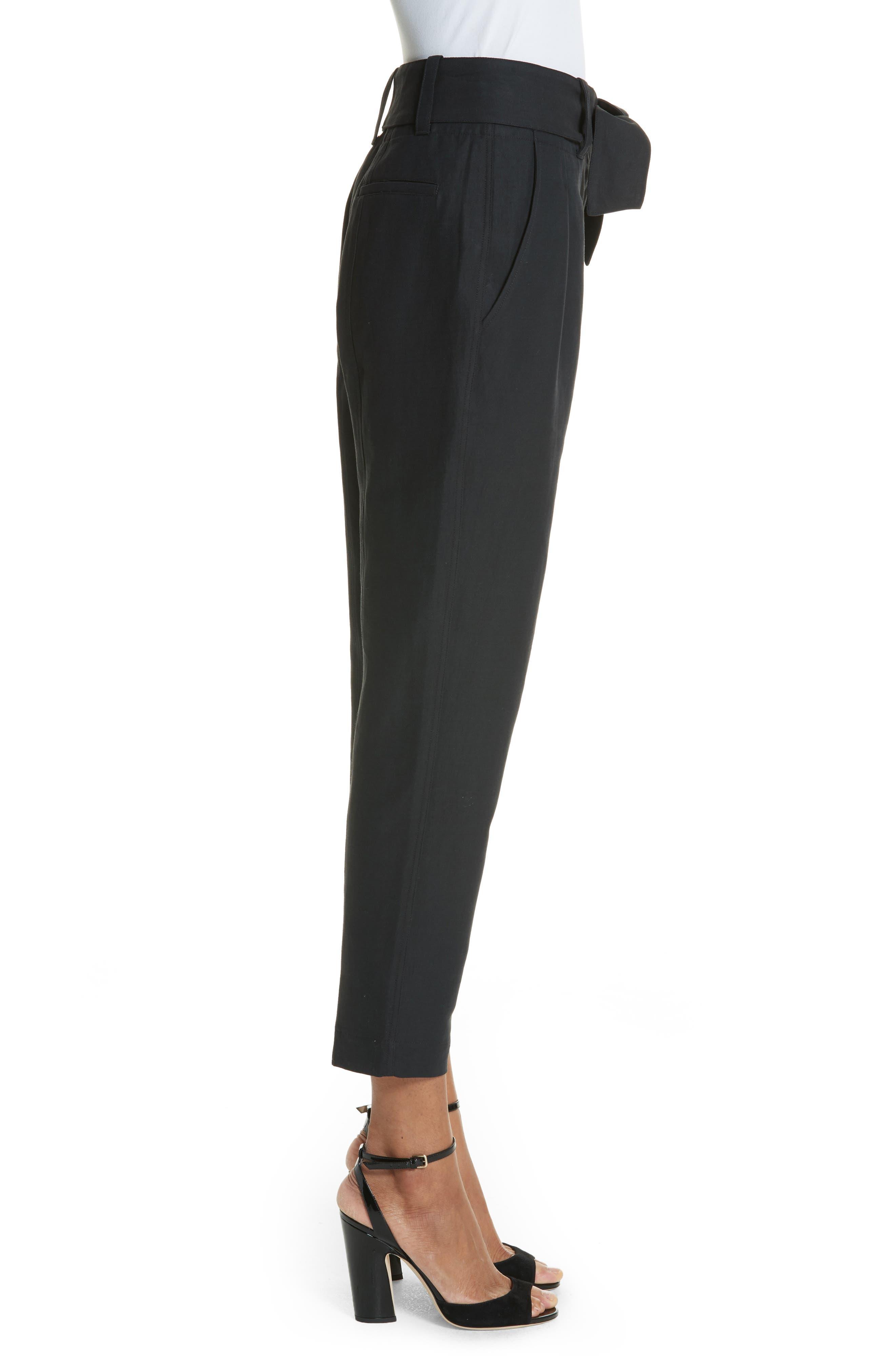 Jun Cotton & Linen Ankle Pants,                             Alternate thumbnail 3, color,                             Caviar
