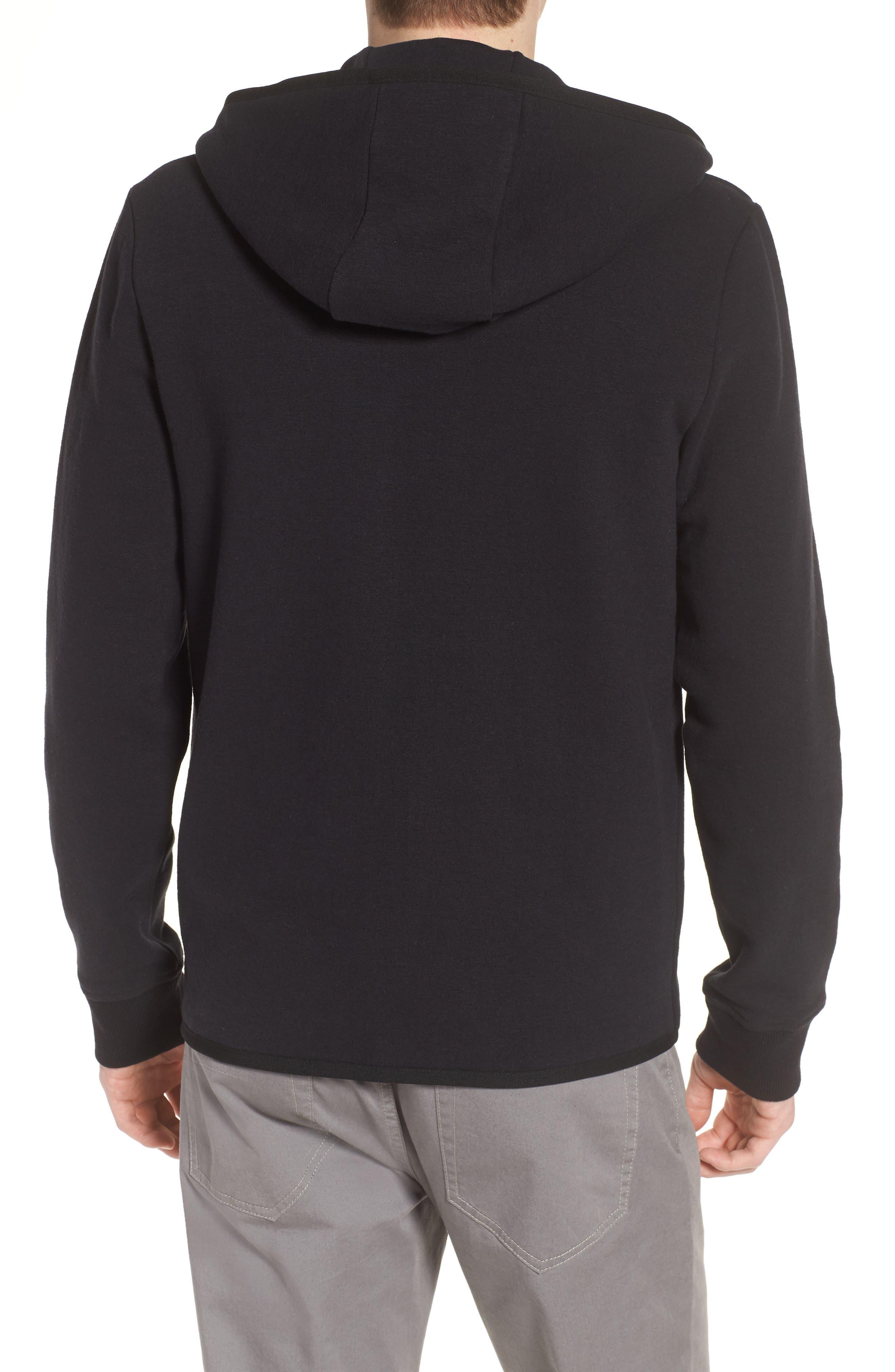 Cotton & Wool Zip Hoodie,                             Alternate thumbnail 2, color,                             Black Black