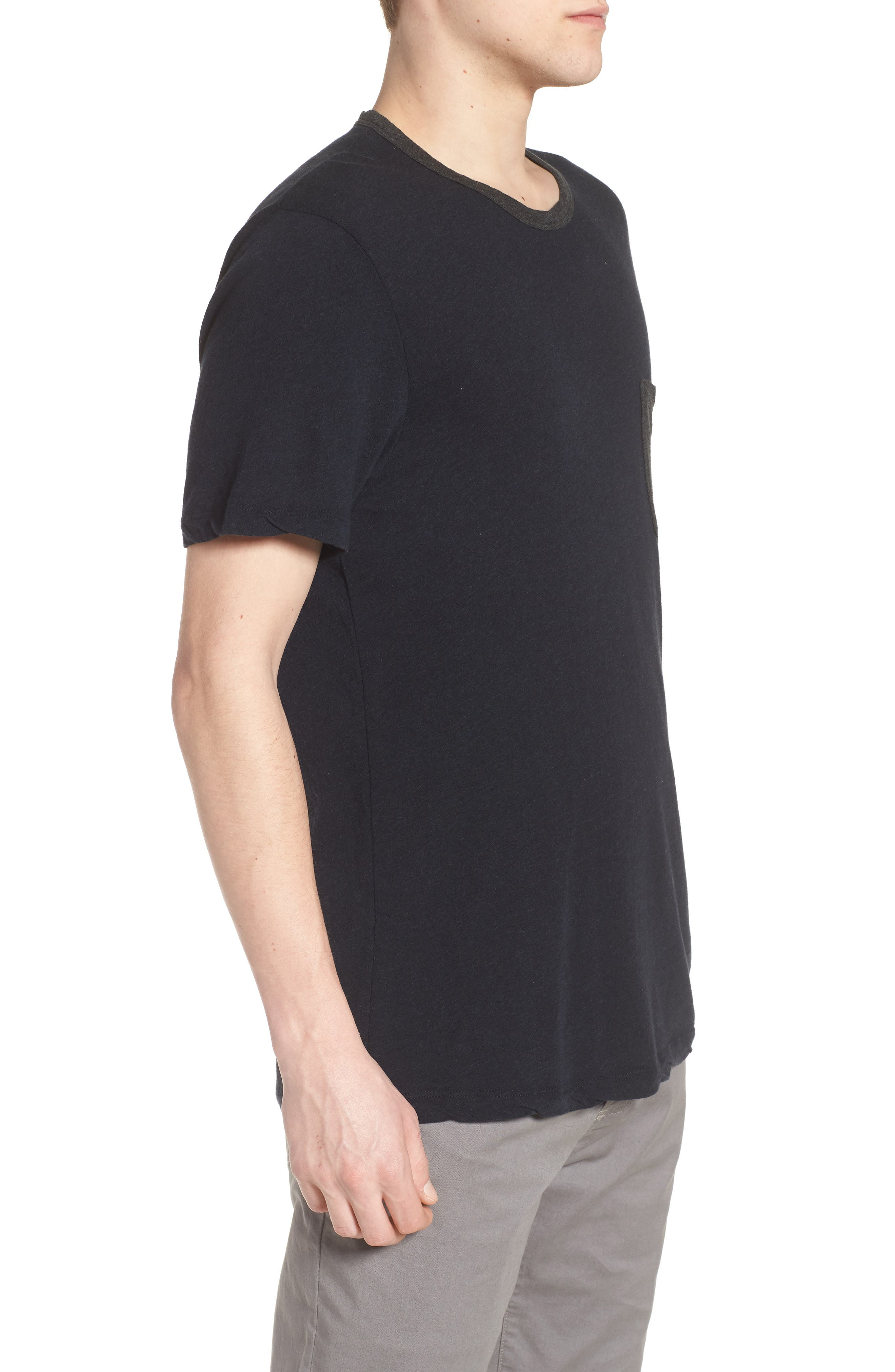 Two-Tone Pocket T-Shirt,                             Alternate thumbnail 3, color,                             Deep Anthracite