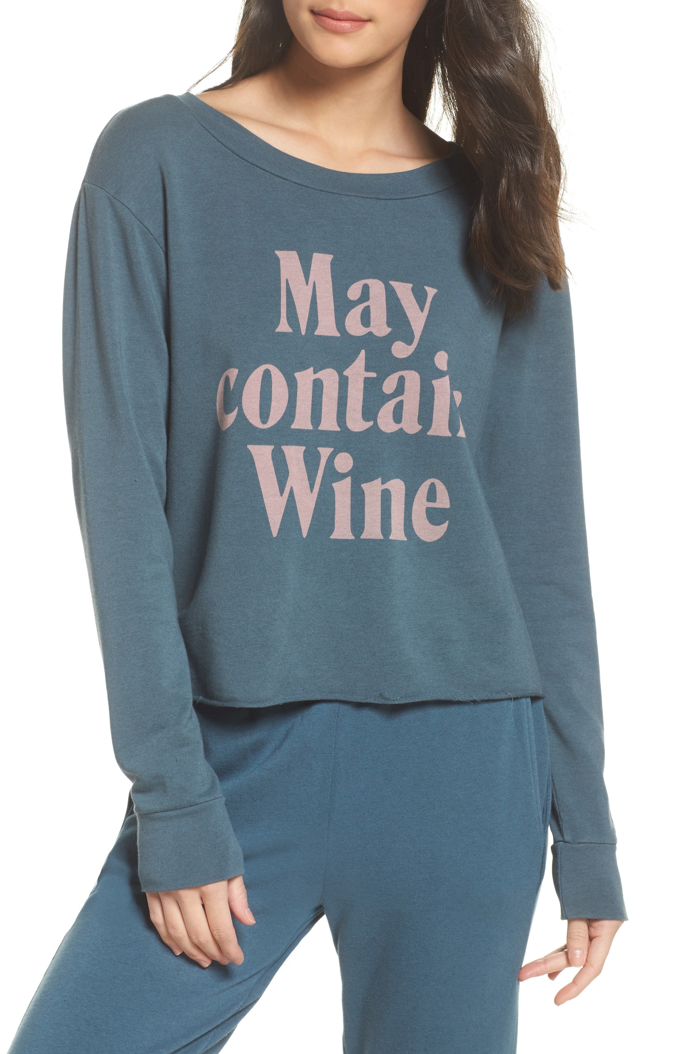 May Contain Wine Sweatshirt,                             Main thumbnail 1, color,                             Gunmetal