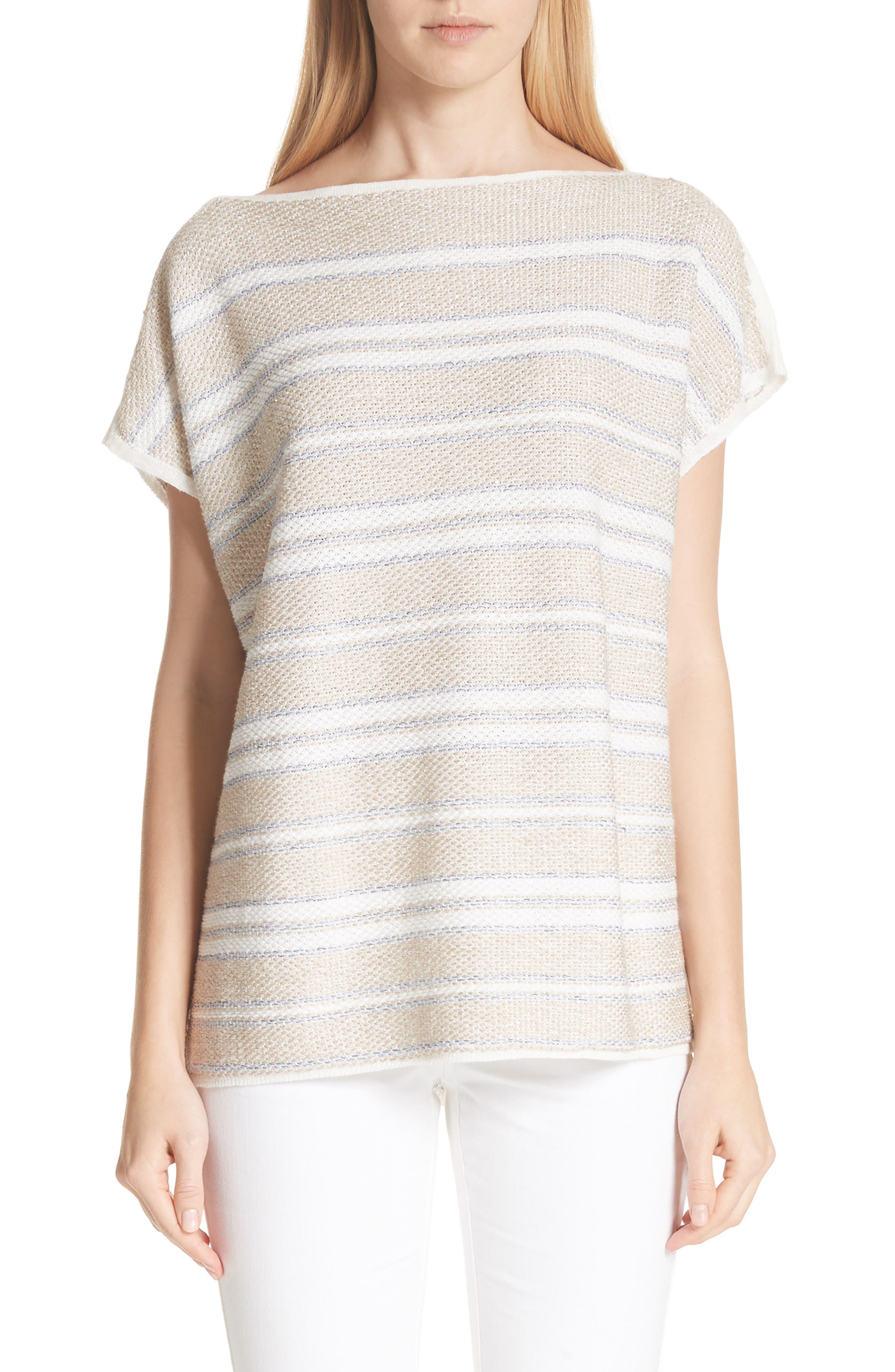 Lafayette 148 New York Linen & Silk Blend Stripe Sweater
