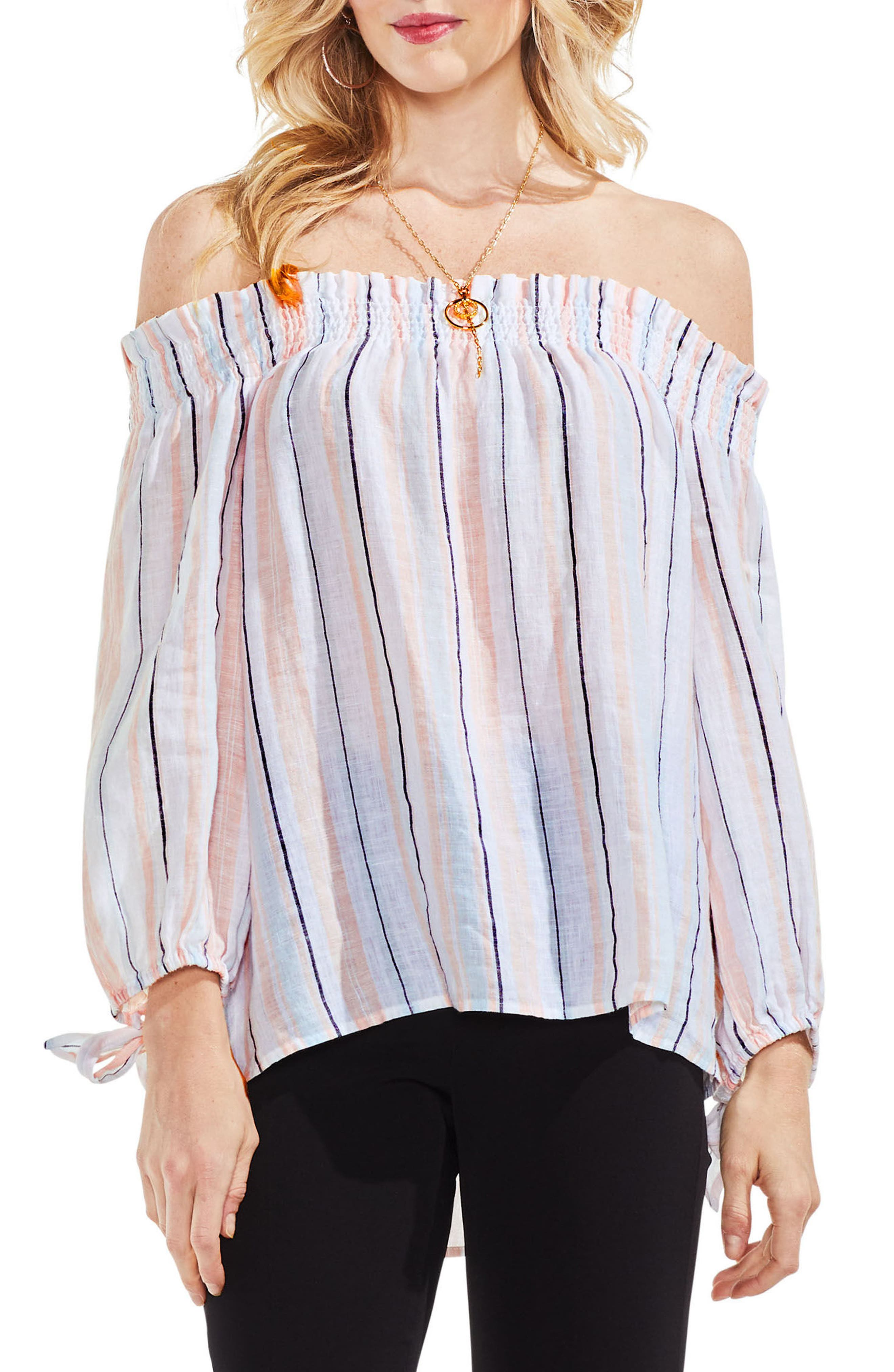 Off the Shoulder Seashore Stripe Linen Blouse,                         Main,                         color, French Peach