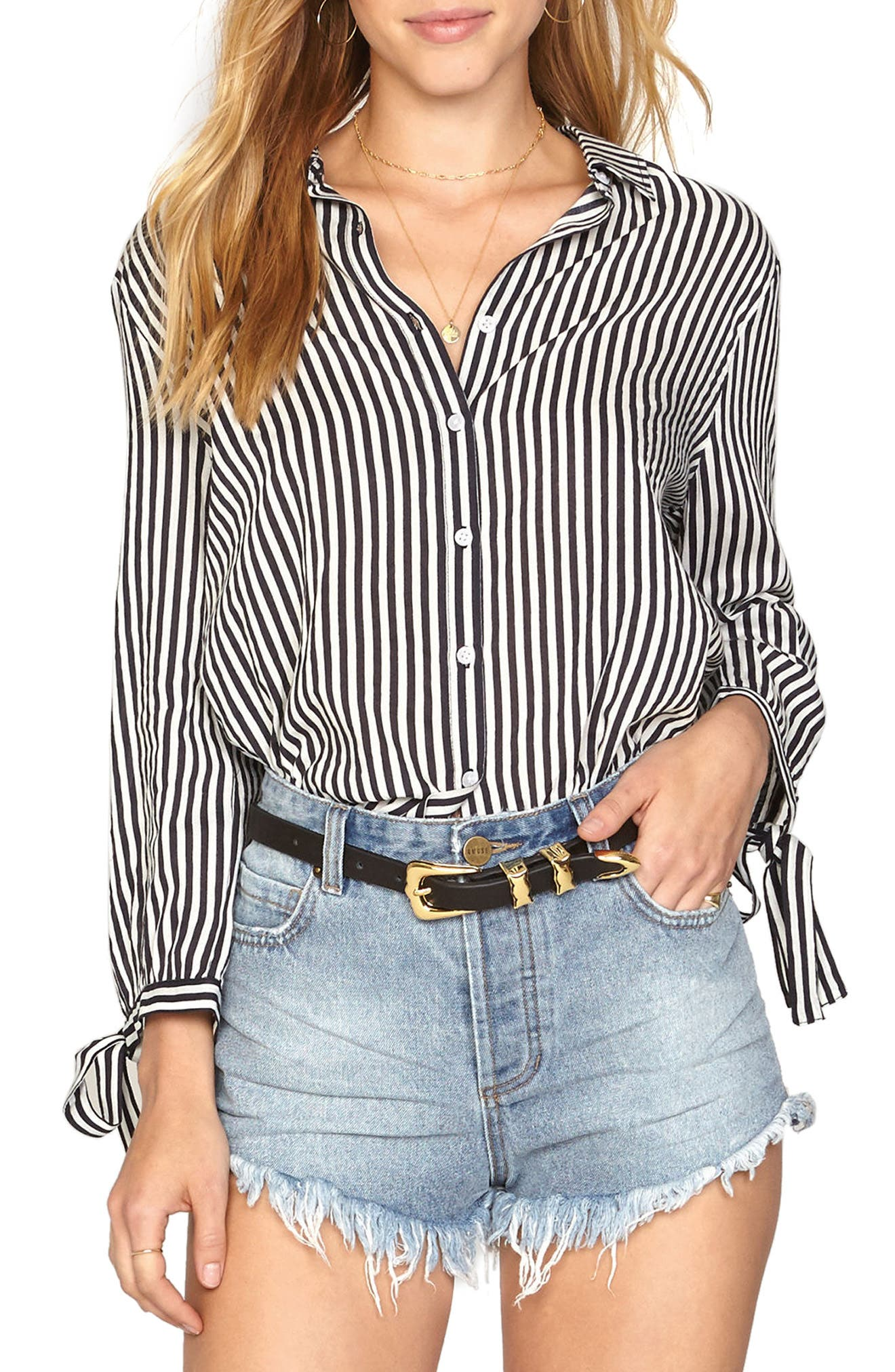 Stripe Tie Cuff Shirt,                             Main thumbnail 1, color,                             Black Sands