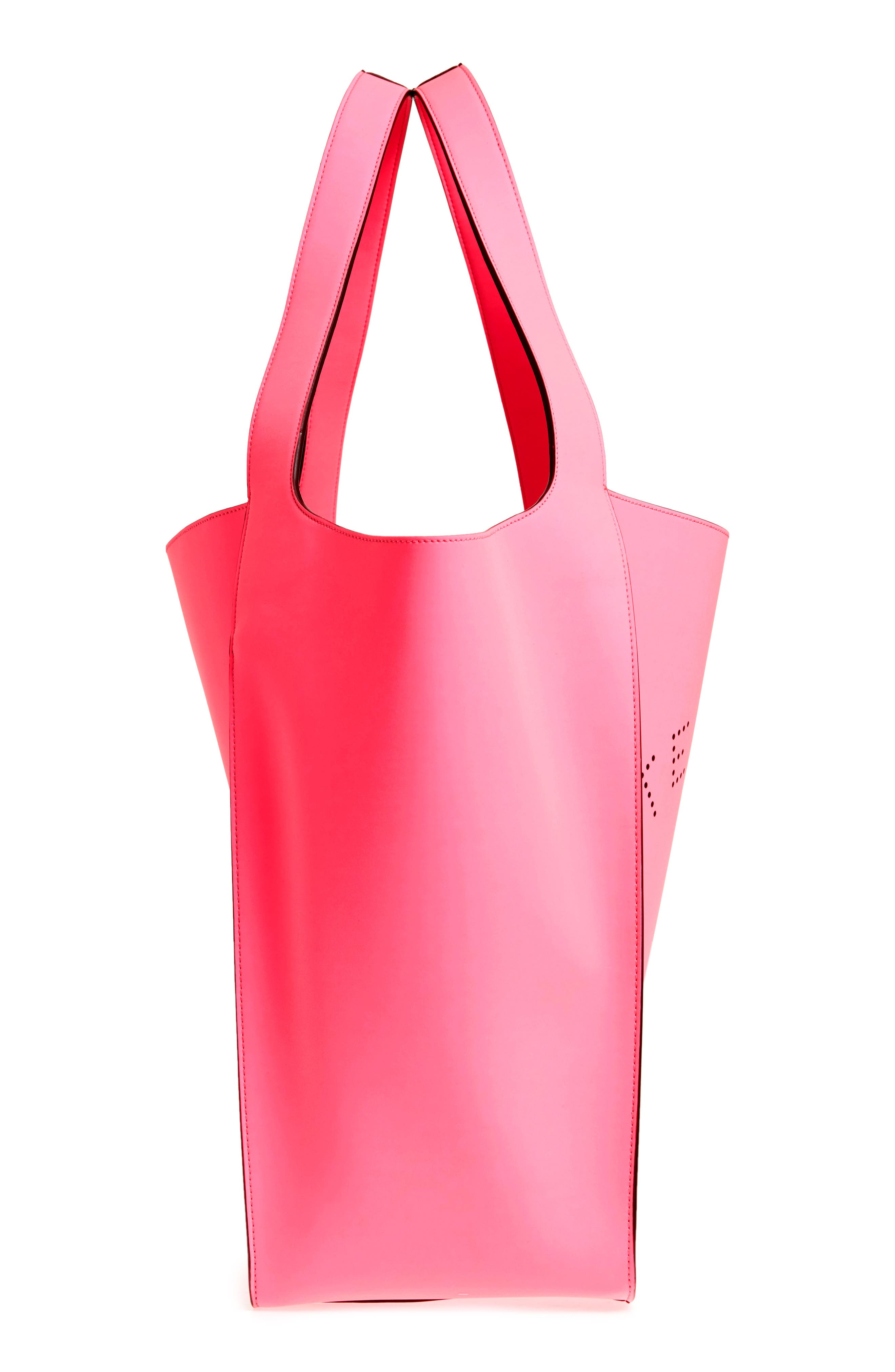 Extra Large Perforated Logo Faux Leather Tote,                             Alternate thumbnail 5, color,                             Pink Fluo