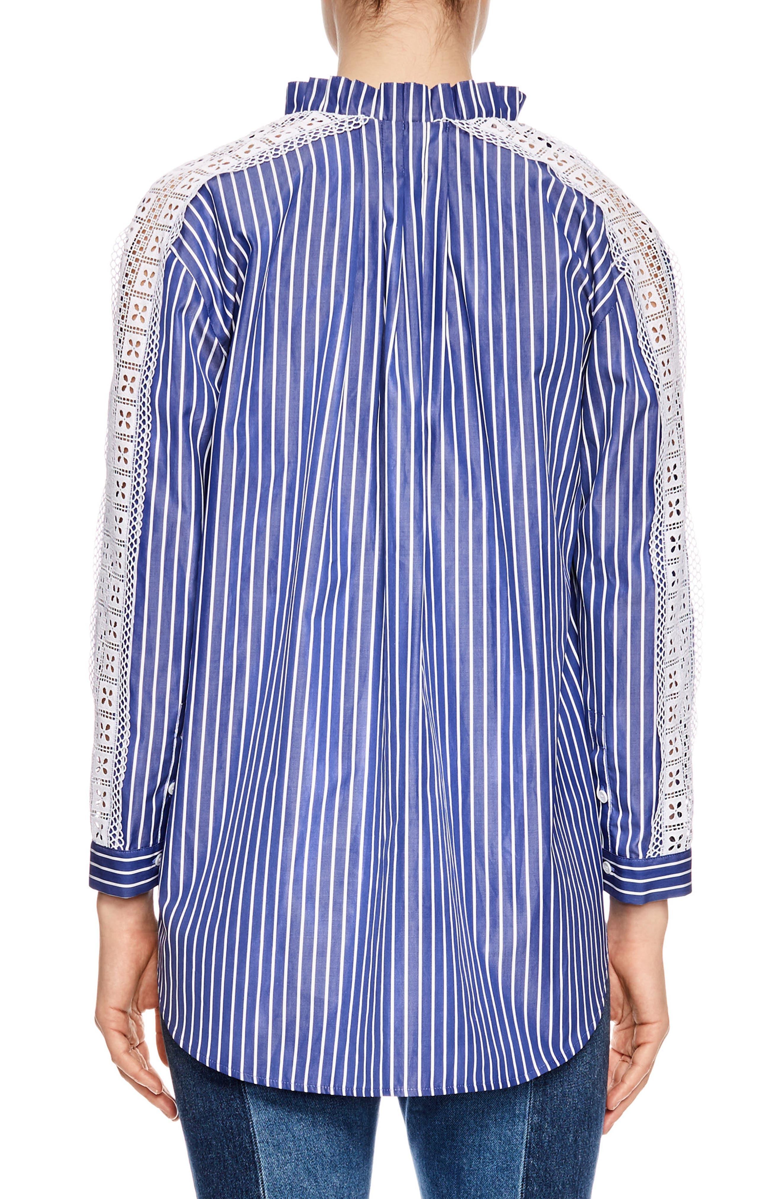 Bleu Lace Stripe Cotton Blouse,                             Alternate thumbnail 2, color,                             Blue
