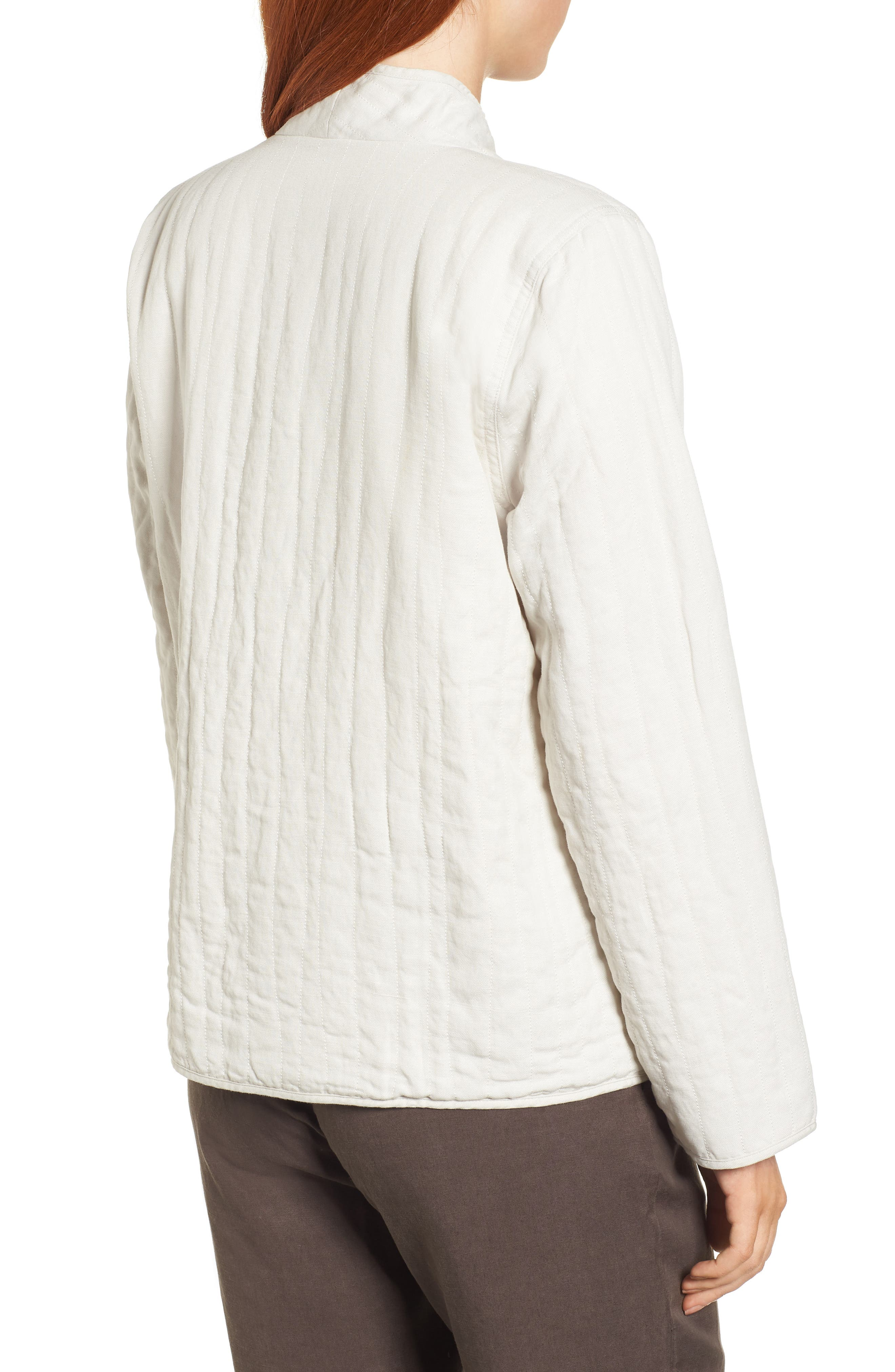 High Collar Quilted Jacket,                             Alternate thumbnail 2, color,                             Bone