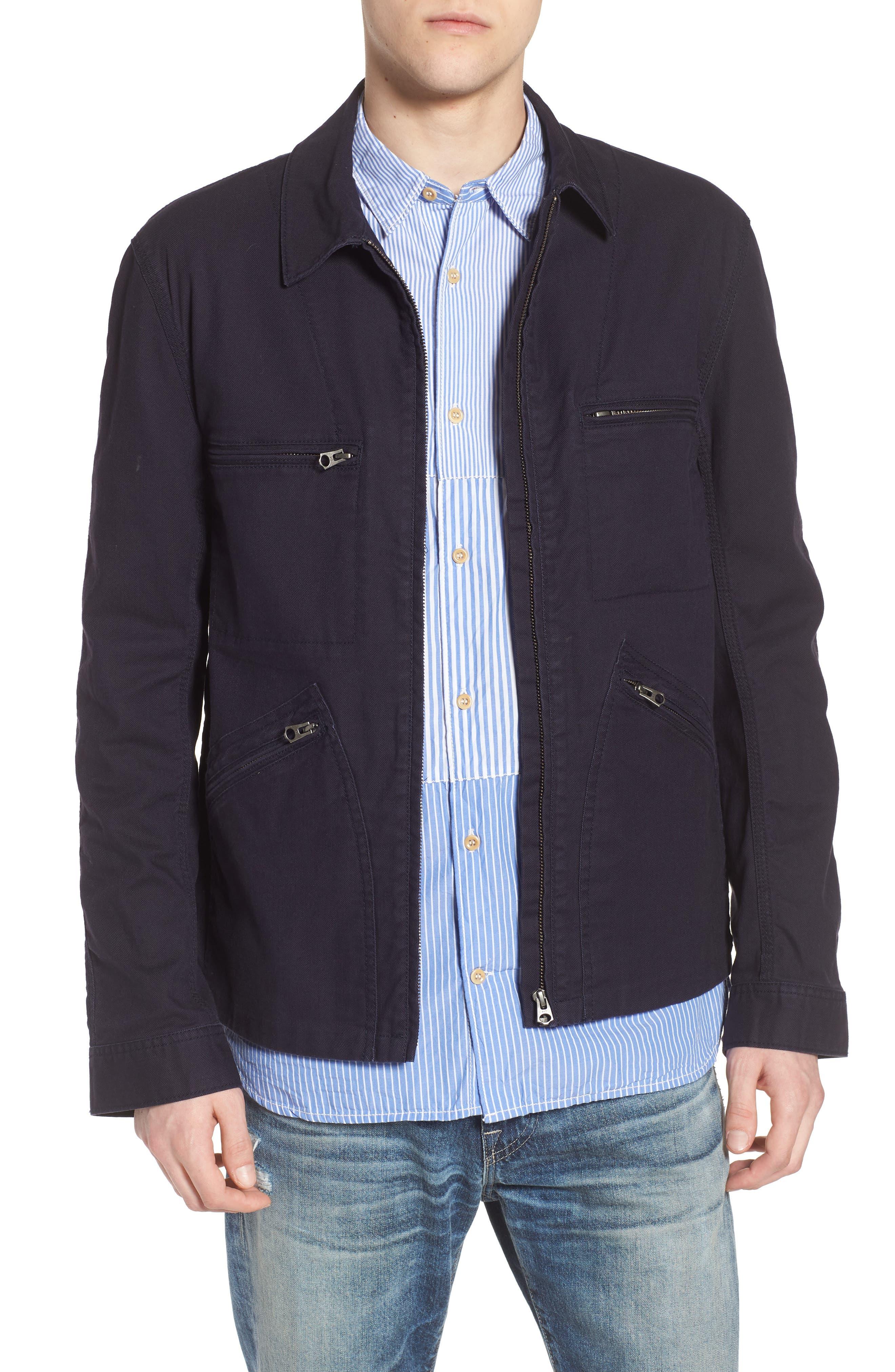 French Connection Slim Fit Slub Twill Cotton & Linen Jacket