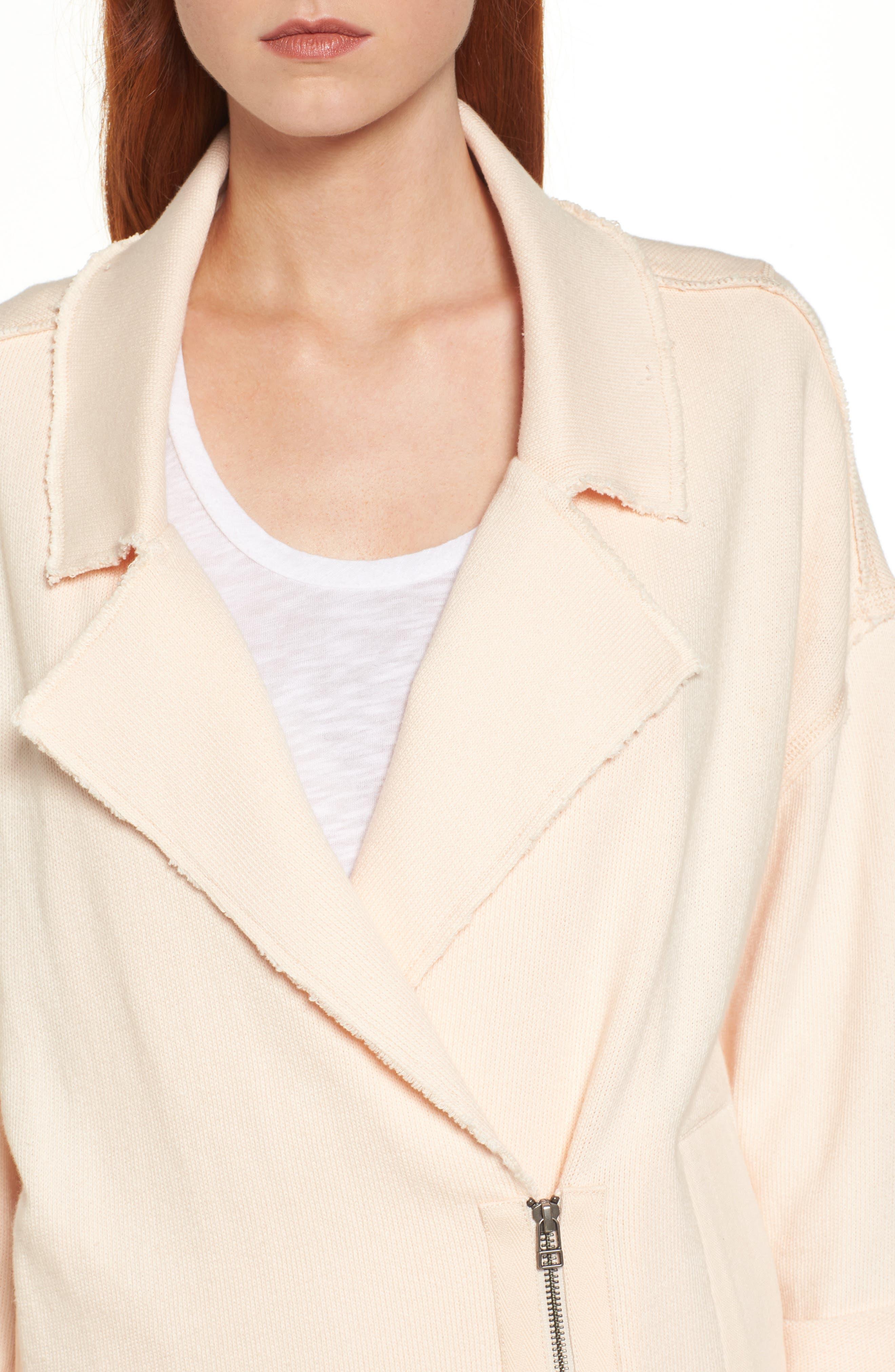 Knit Moto Jacket,                             Alternate thumbnail 4, color,                             Beige Linen