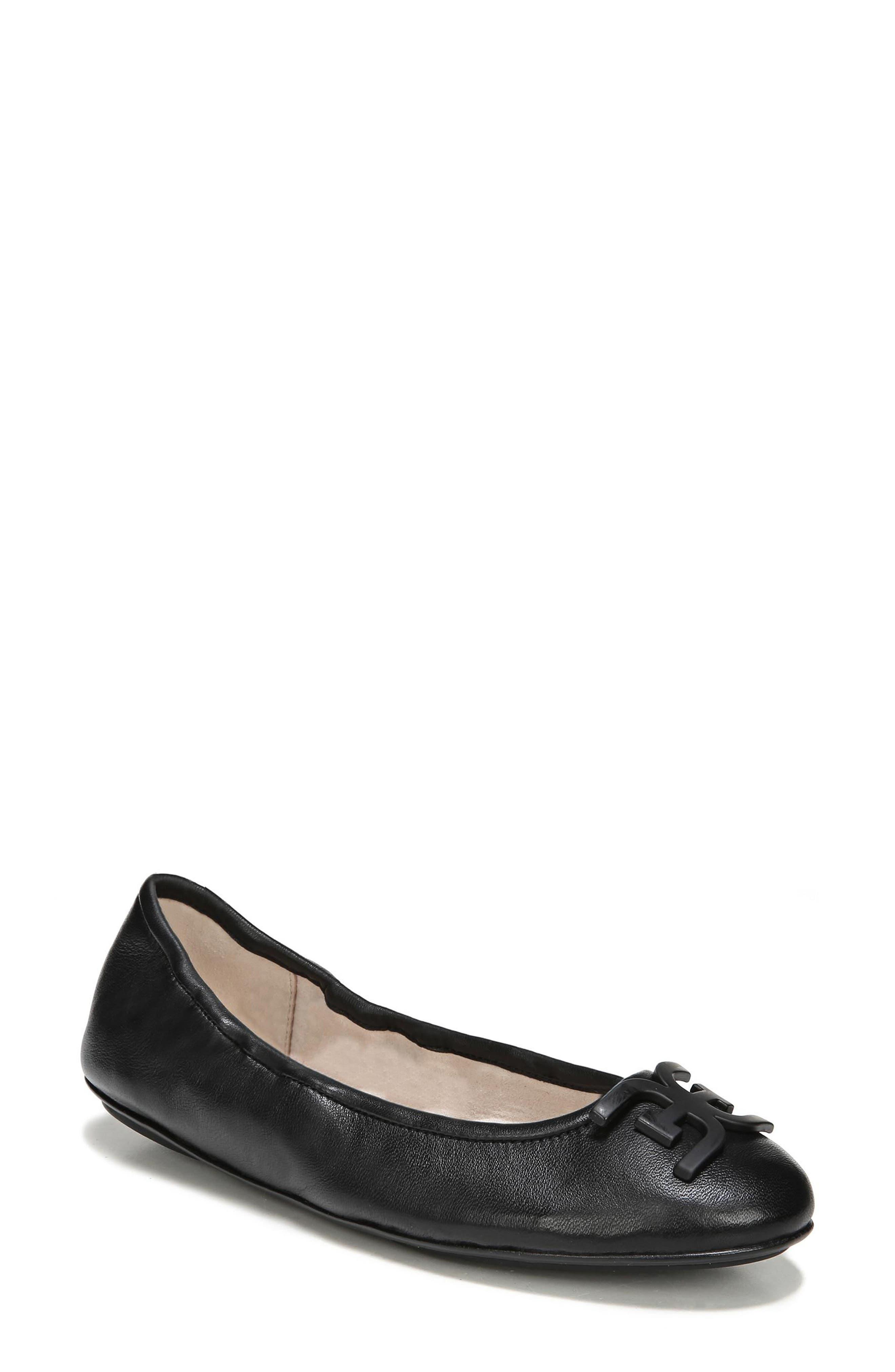 Florence Ballet Flat,                             Main thumbnail 1, color,                             Black Leather