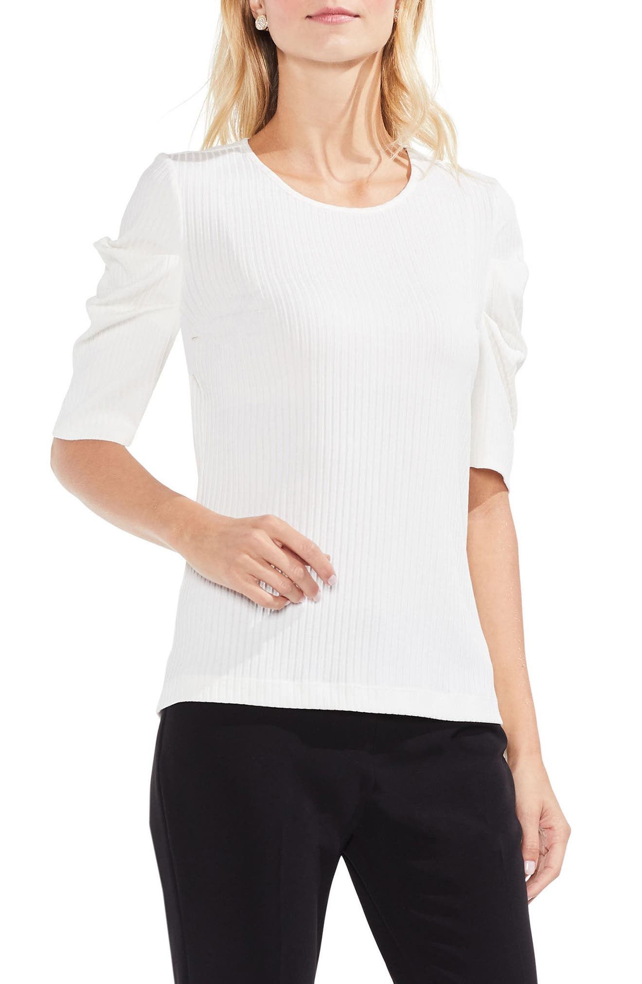 Draped Sleeve Ribbed Tee,                         Main,                         color, Antique White