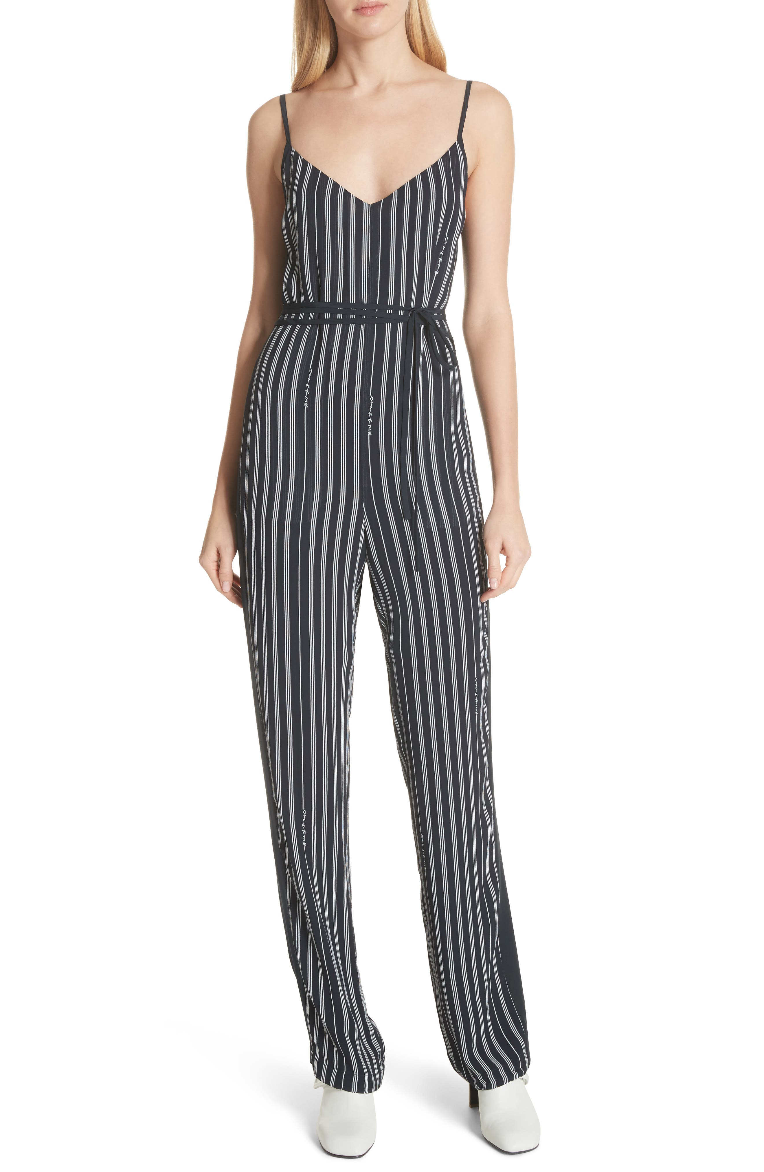 Rosa Silk Panel Belted Jumpsuit,                             Main thumbnail 1, color,                             Navy Stripe