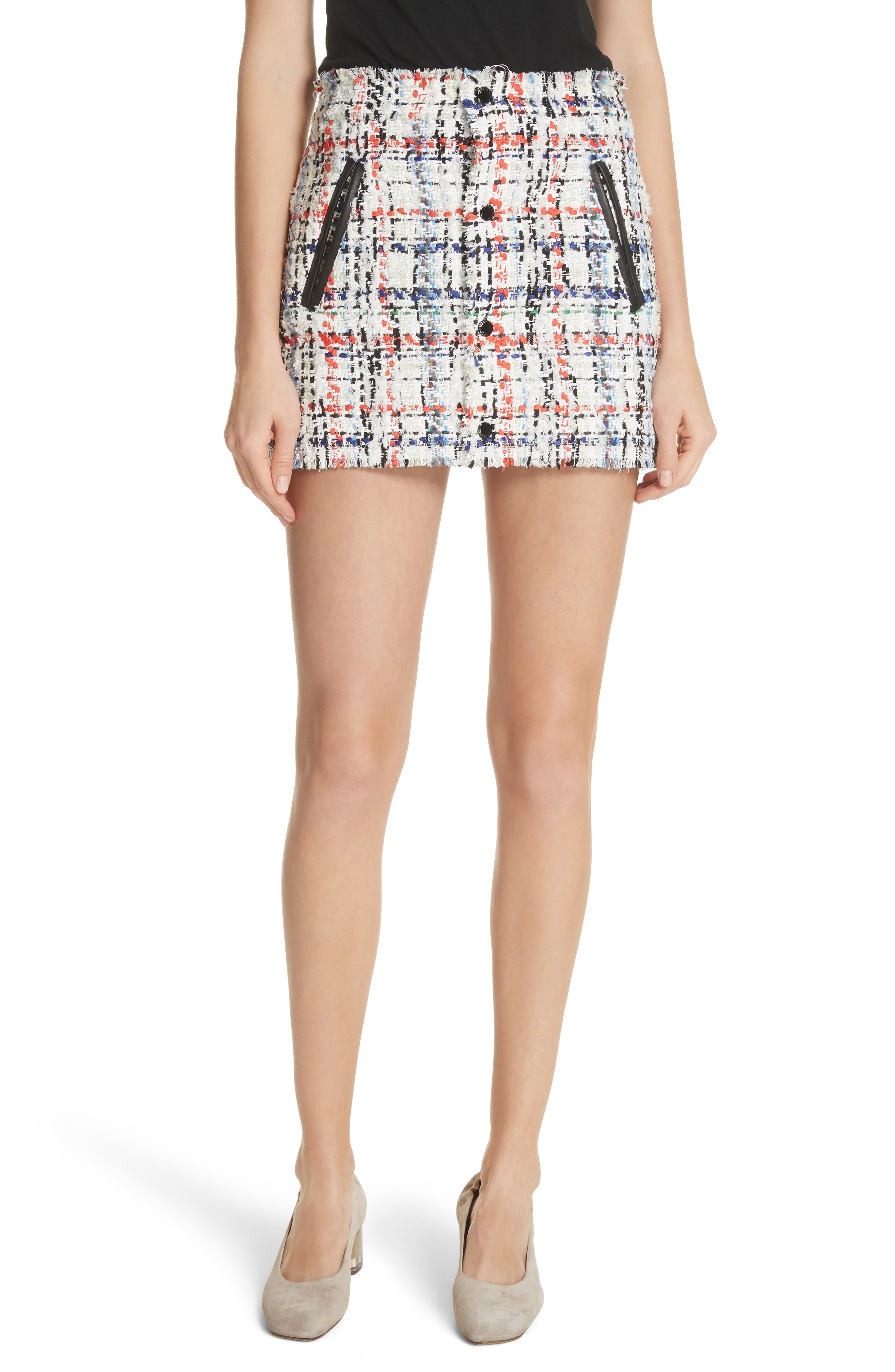 Otis Tweed Miniskirt,                             Main thumbnail 1, color,                             White Combo