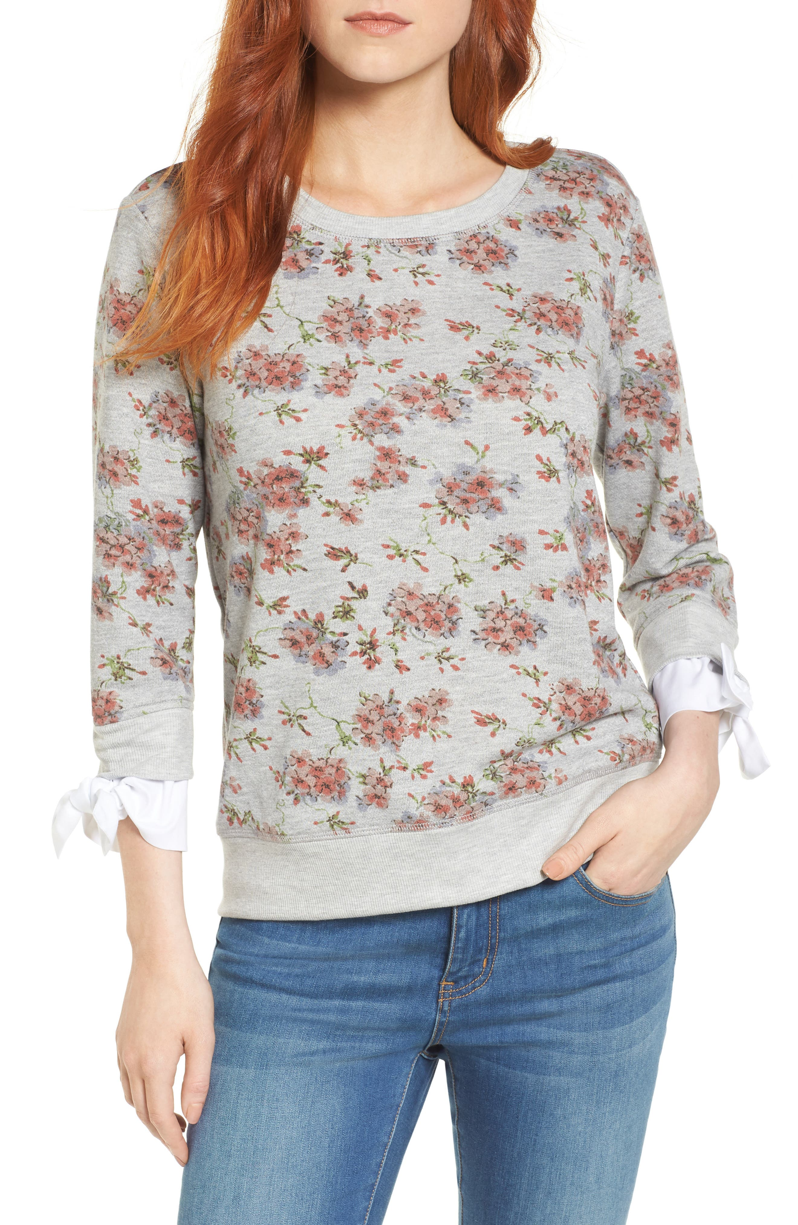 Poplin Cuff Sweatshirt,                             Main thumbnail 1, color,                             Grey Blush Floral W/ White