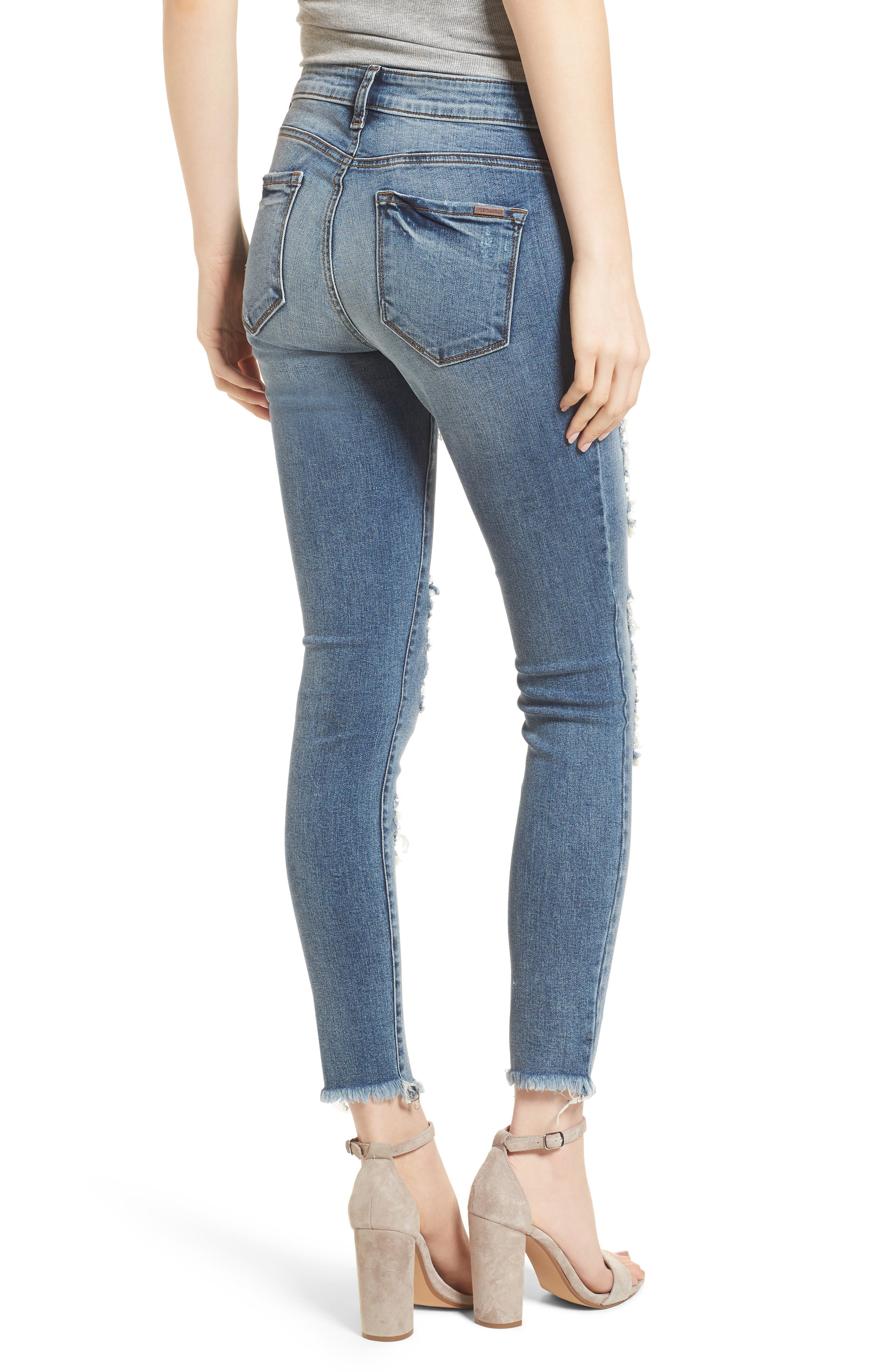 Emma Fray Hem Ripped Ankle Jeans,                             Alternate thumbnail 2, color,                             North Antham