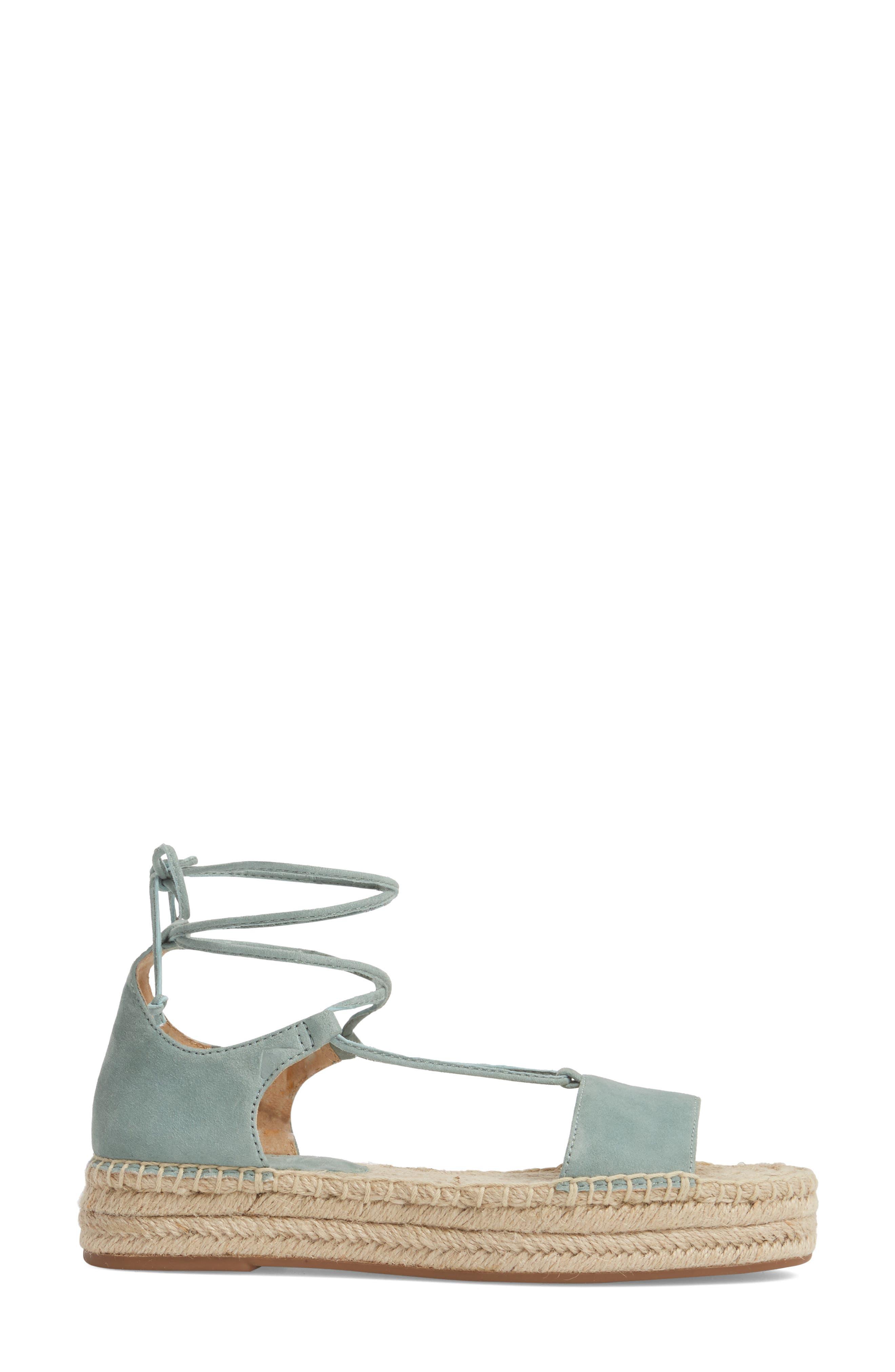 Fernanda Wraparound Platform Sandal,                             Alternate thumbnail 3, color,                             Deco Green Suede
