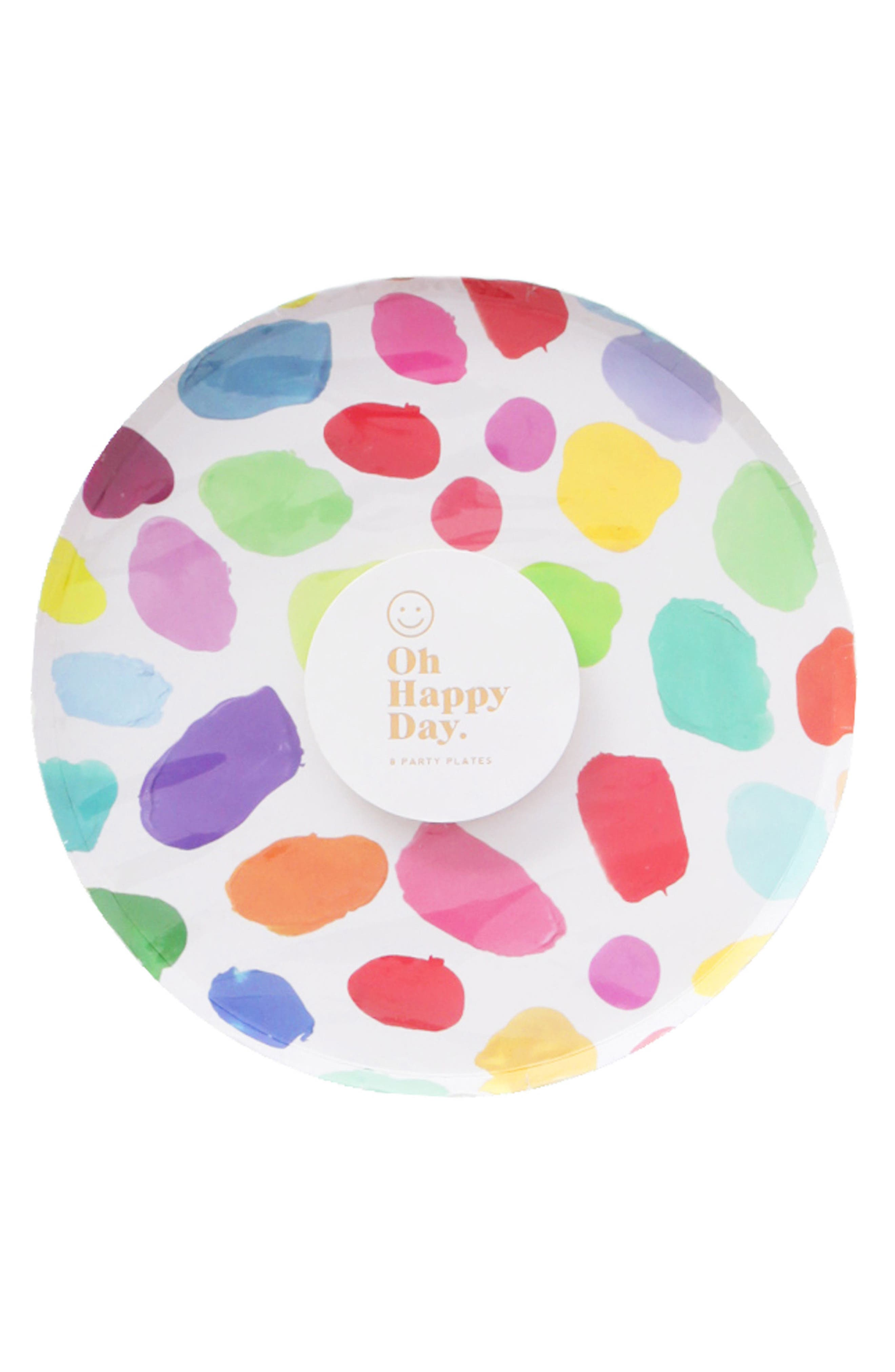 Oh Happy Day Set of 8 Kindah 7-Inch Paper Party Plates