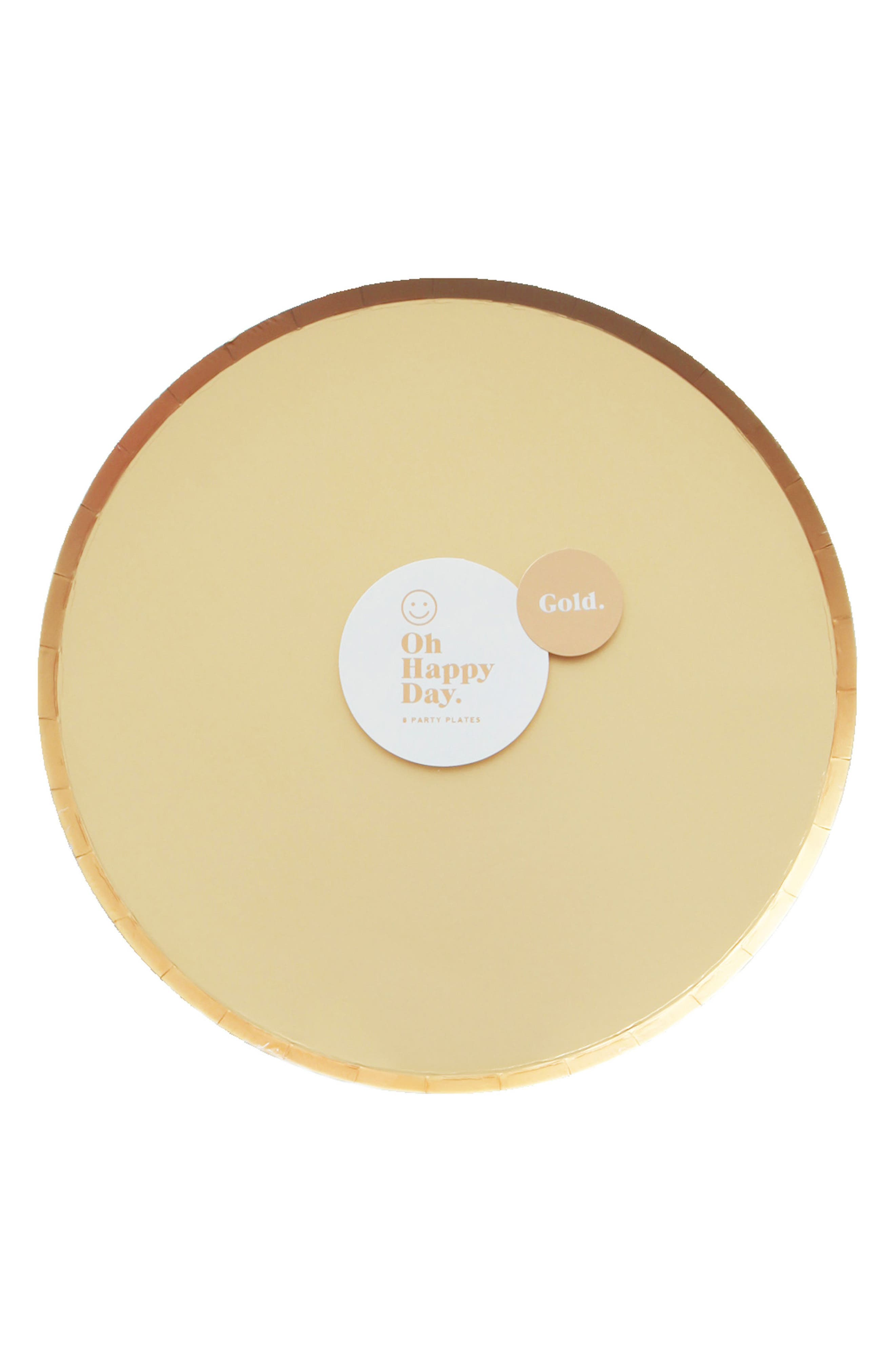 Oh Happy Day Set of 8 Gold 9-Inch Paper Party Plates