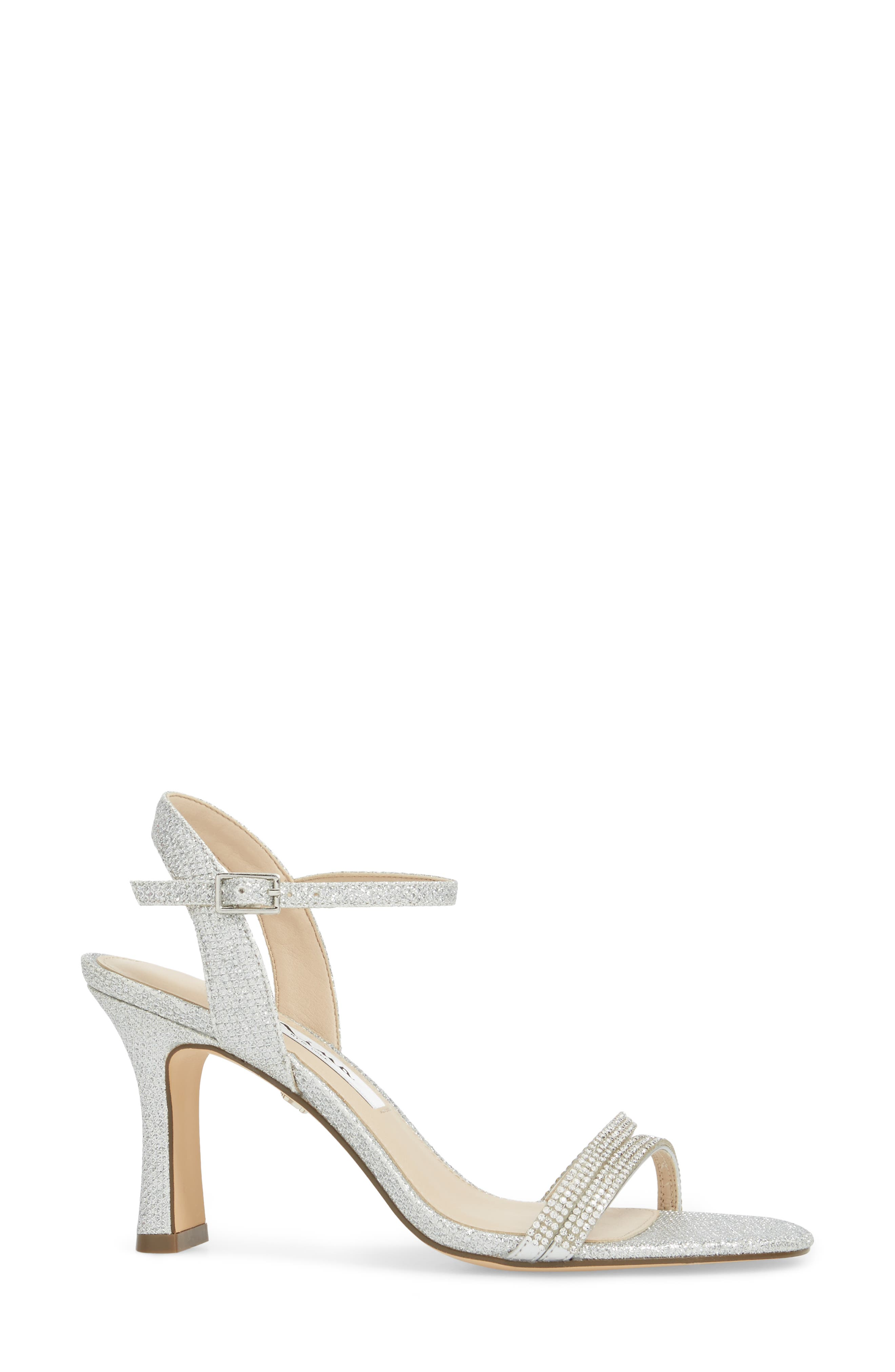 Avalon Ankle Strap Sandal,                             Alternate thumbnail 3, color,                             Silver Fabric