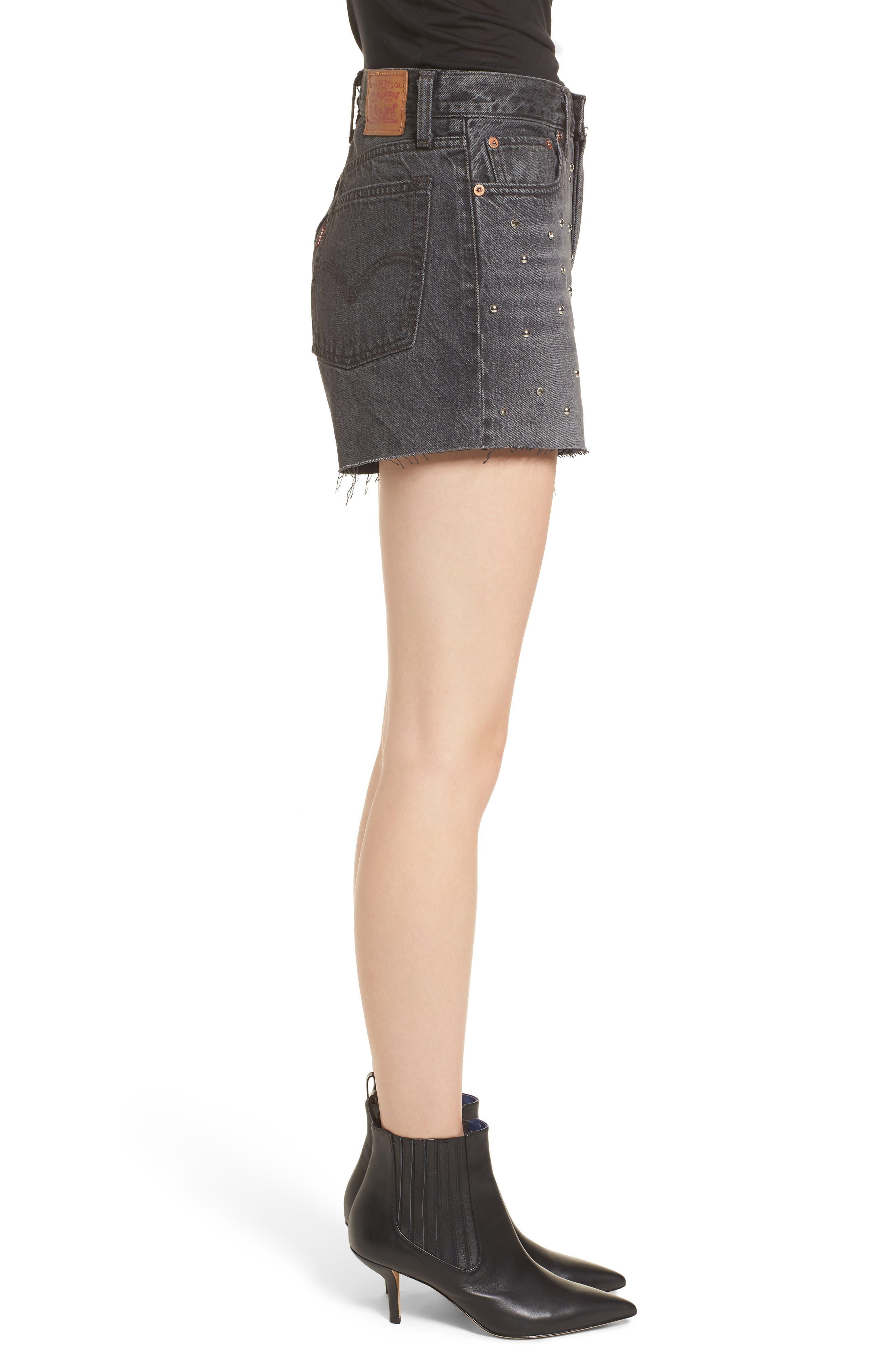 Wedgie High Waist Cutoff Denim Shorts,                             Alternate thumbnail 3, color,                             Bling Bling