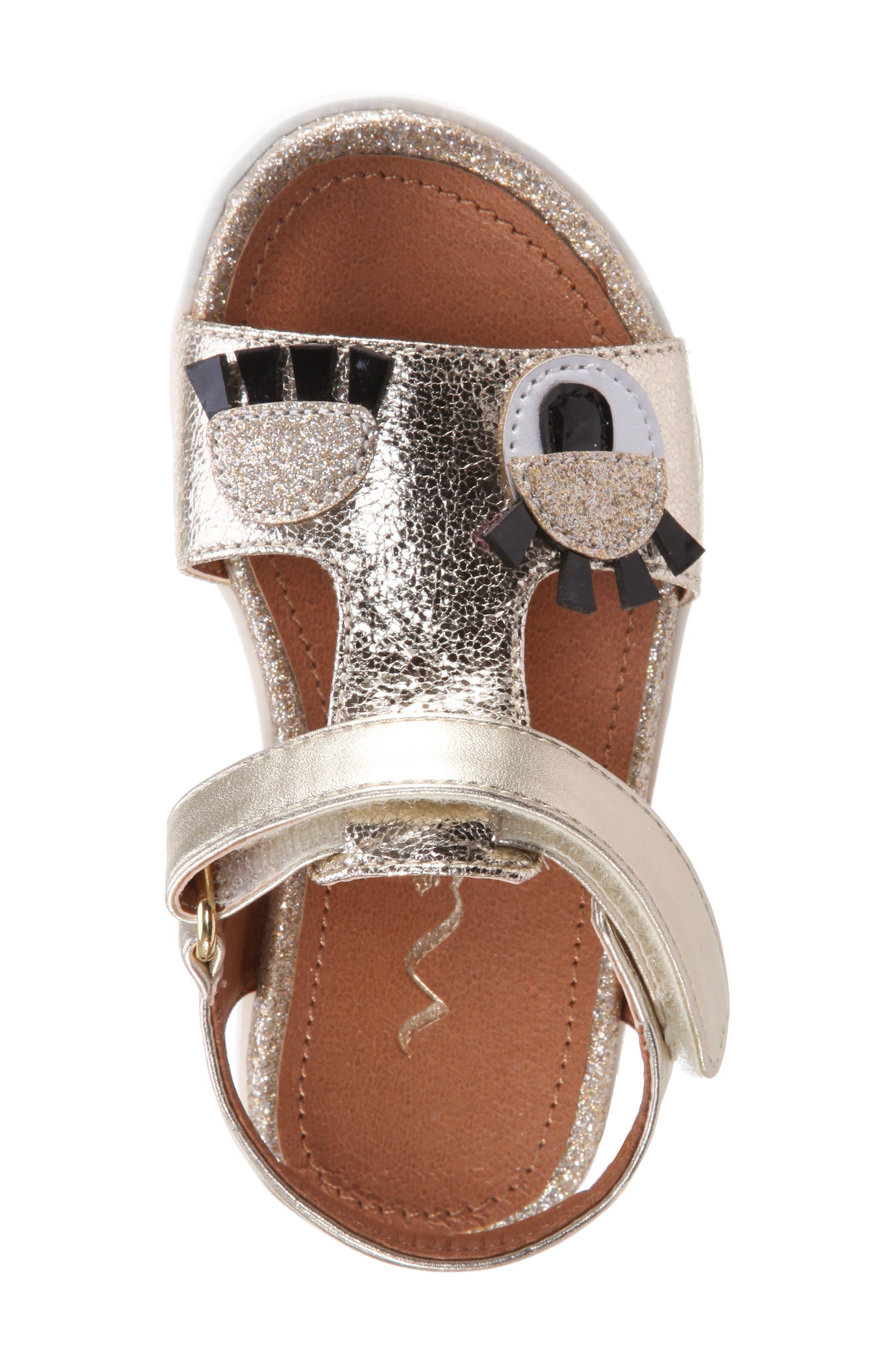 Luciella Wink Sandal,                             Alternate thumbnail 4, color,                             Platino Metallic Crackle