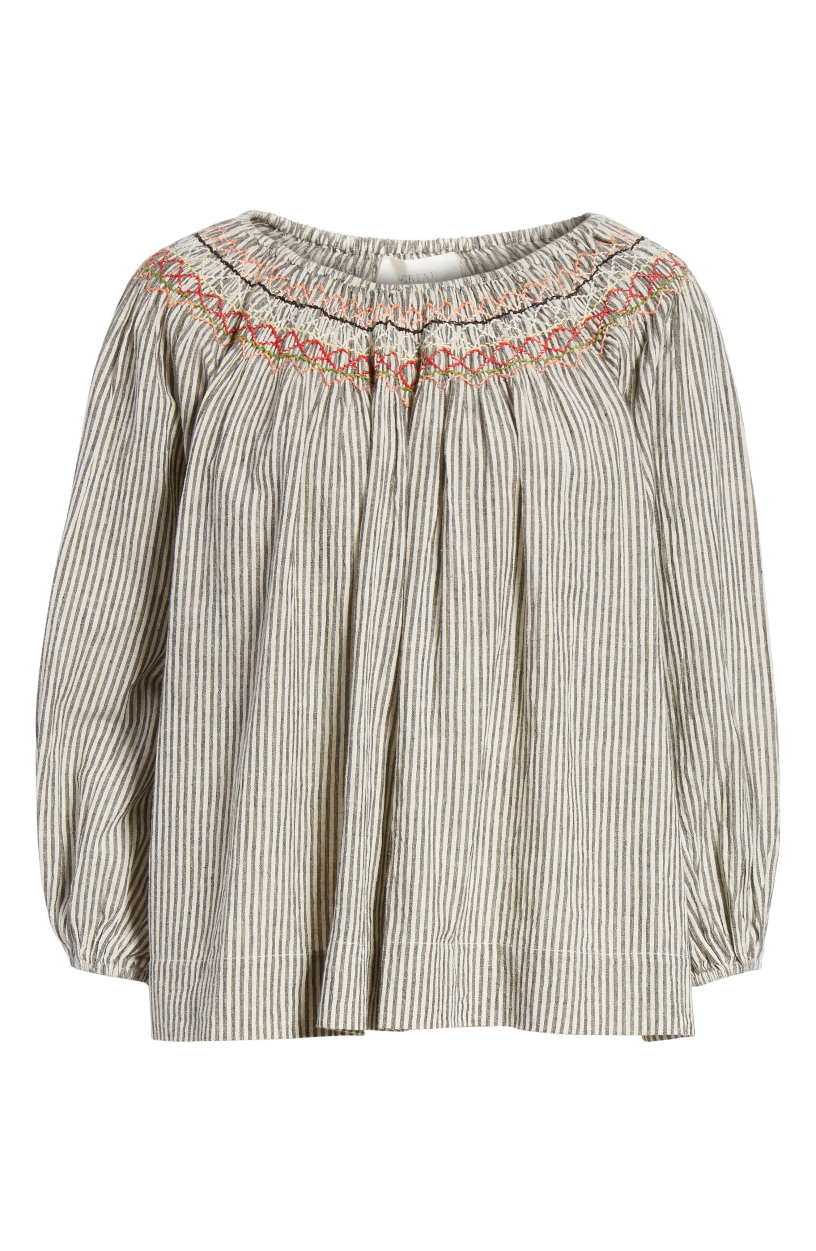 The Vista Cotton & Linen Top,                             Alternate thumbnail 6, color,                             Rail Stripe