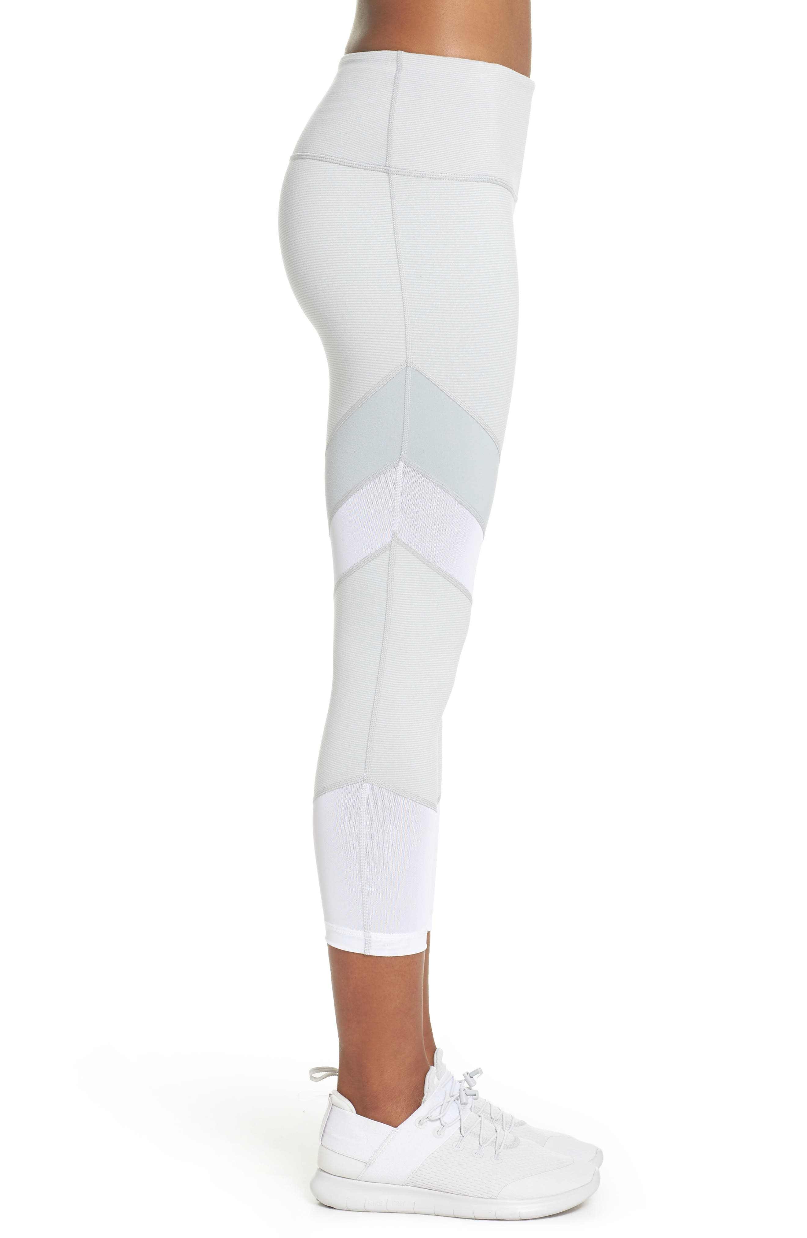Live In Electric Mix Power Mesh Crop Leggings,                             Alternate thumbnail 3, color,                             Grey Wolf Terra
