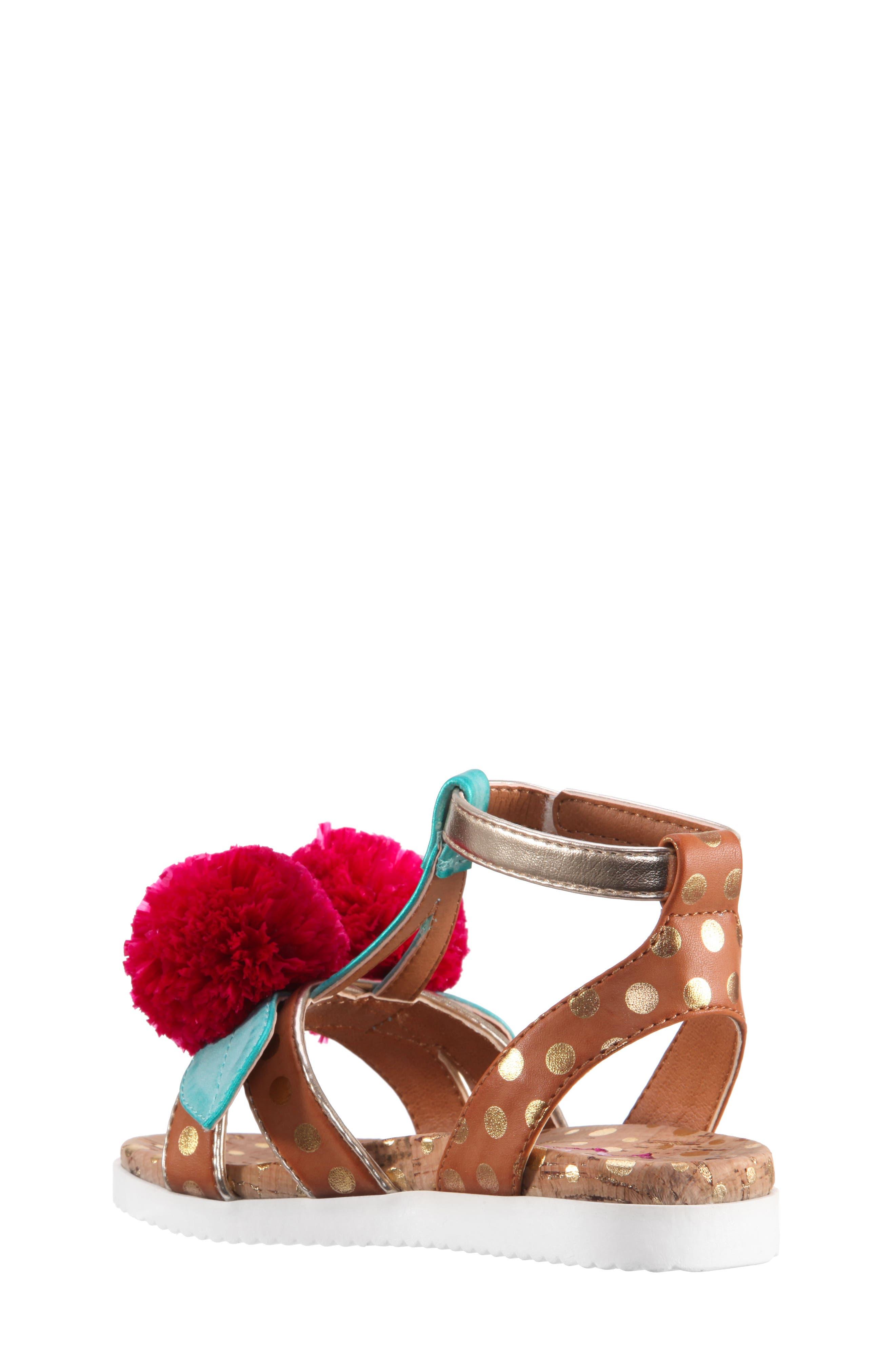 Kyeleigh Pom Flower Sandal,                             Alternate thumbnail 2, color,                             Light Tan Burnish