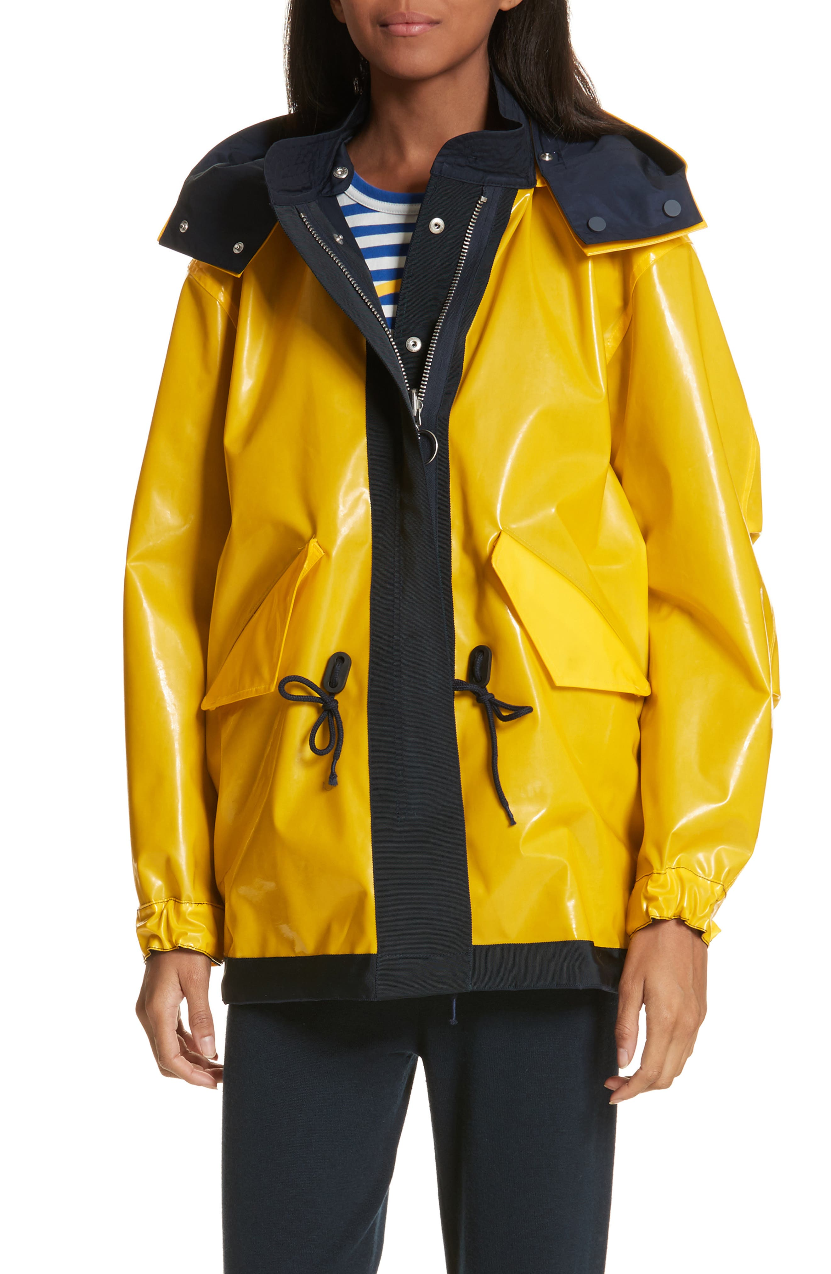 Reversible Rain Jacket,                         Main,                         color, Tory Navy/ Cyber Yellow