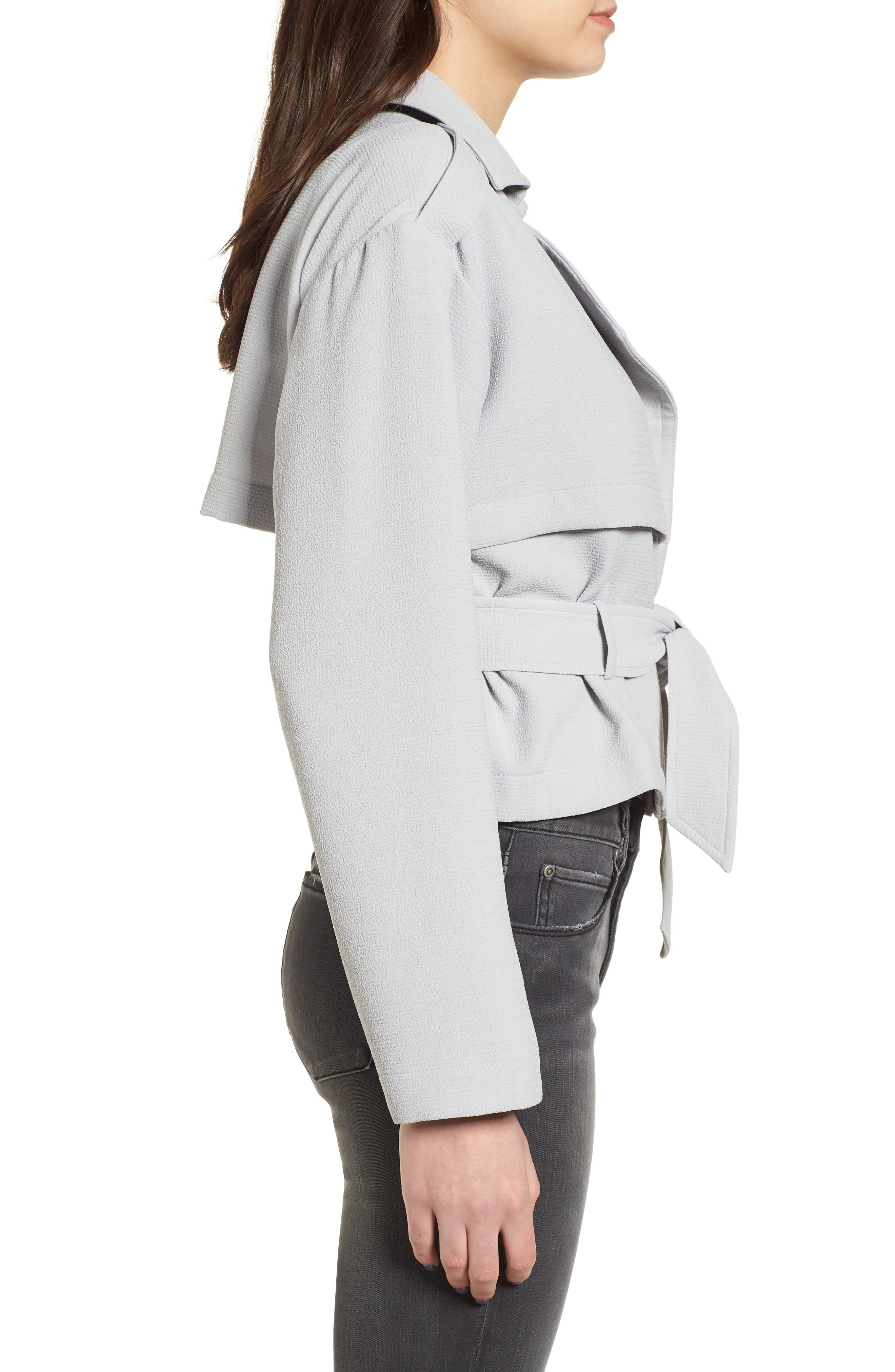 Crop Trench Jacket,                             Alternate thumbnail 4, color,                             Blue Pearl