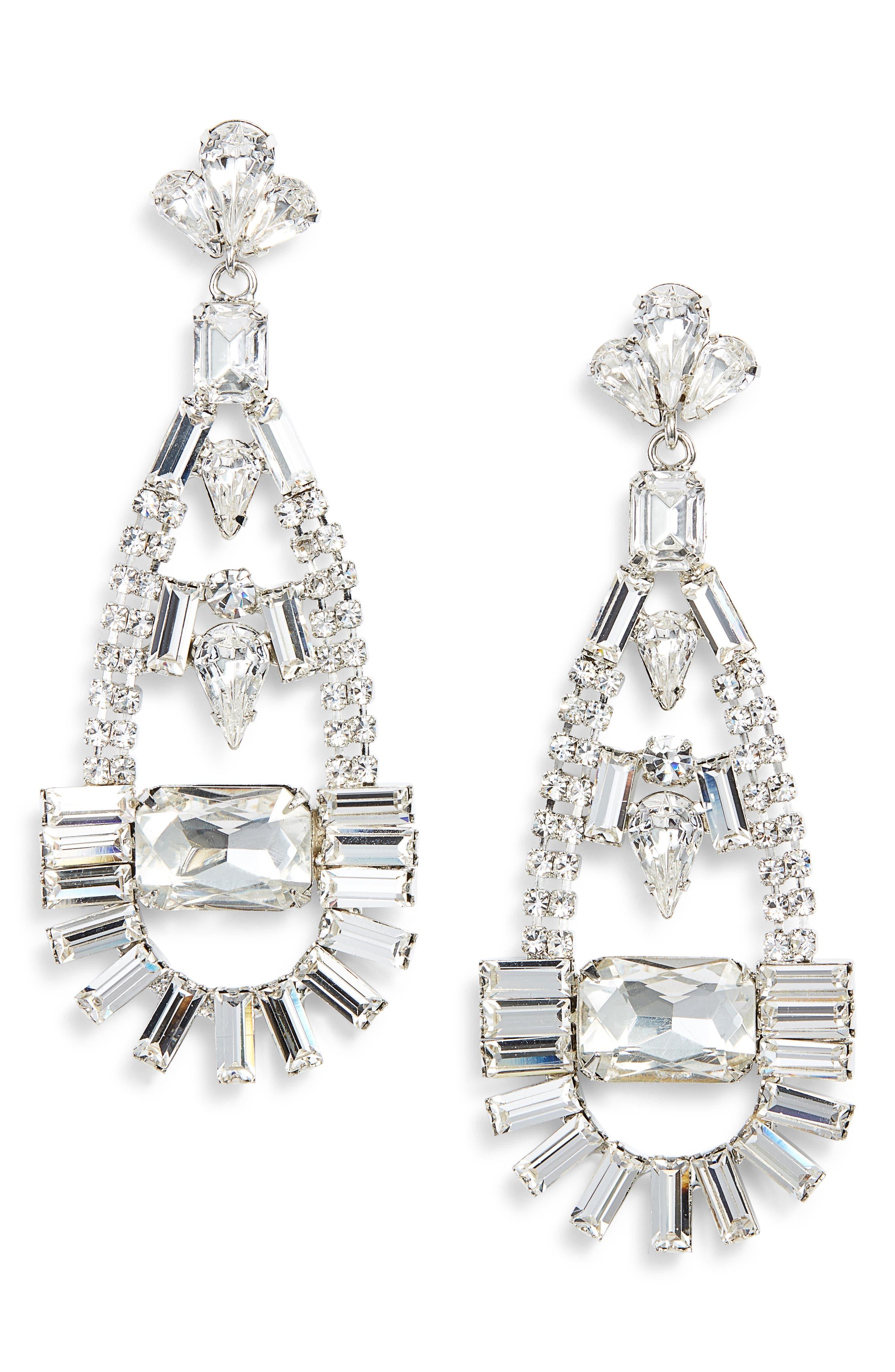 CRISTABELLE Crystal Teardrop Earrings