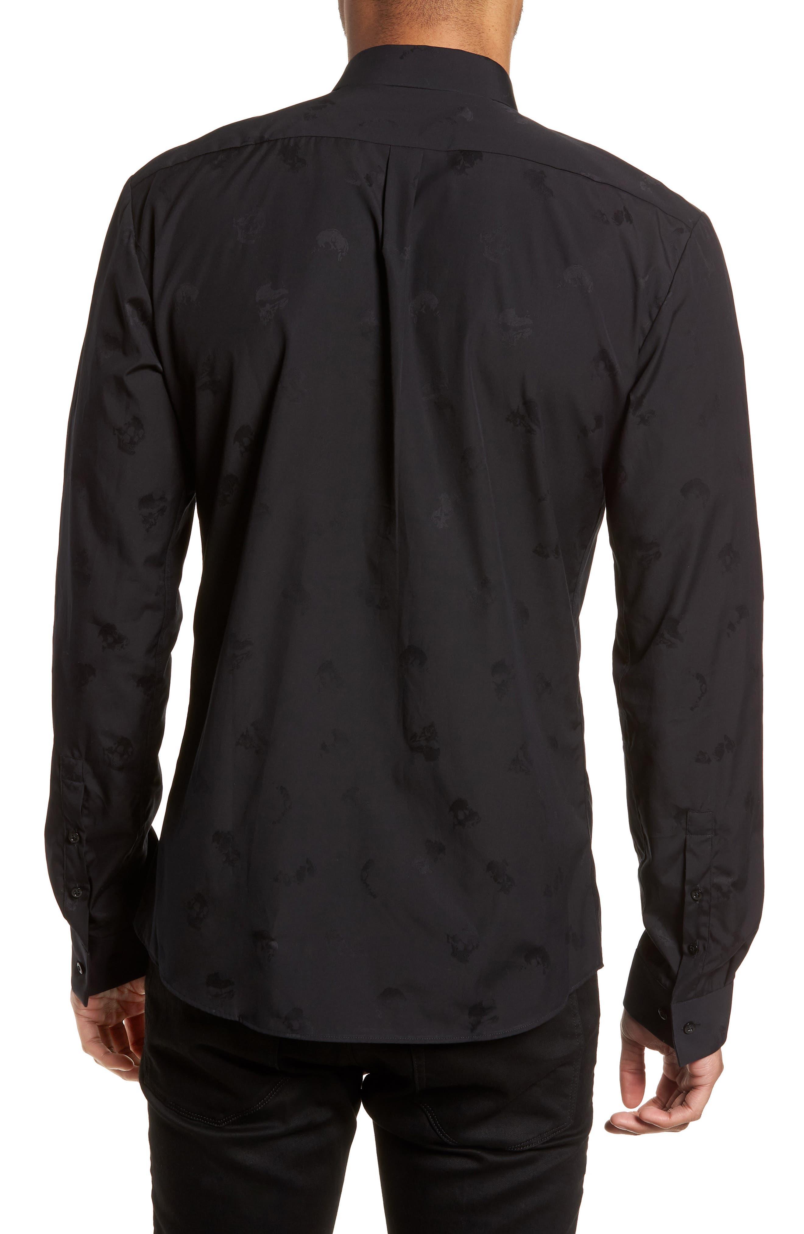 Ero Slim Fit Print Sport Shirt,                             Alternate thumbnail 2, color,                             Black