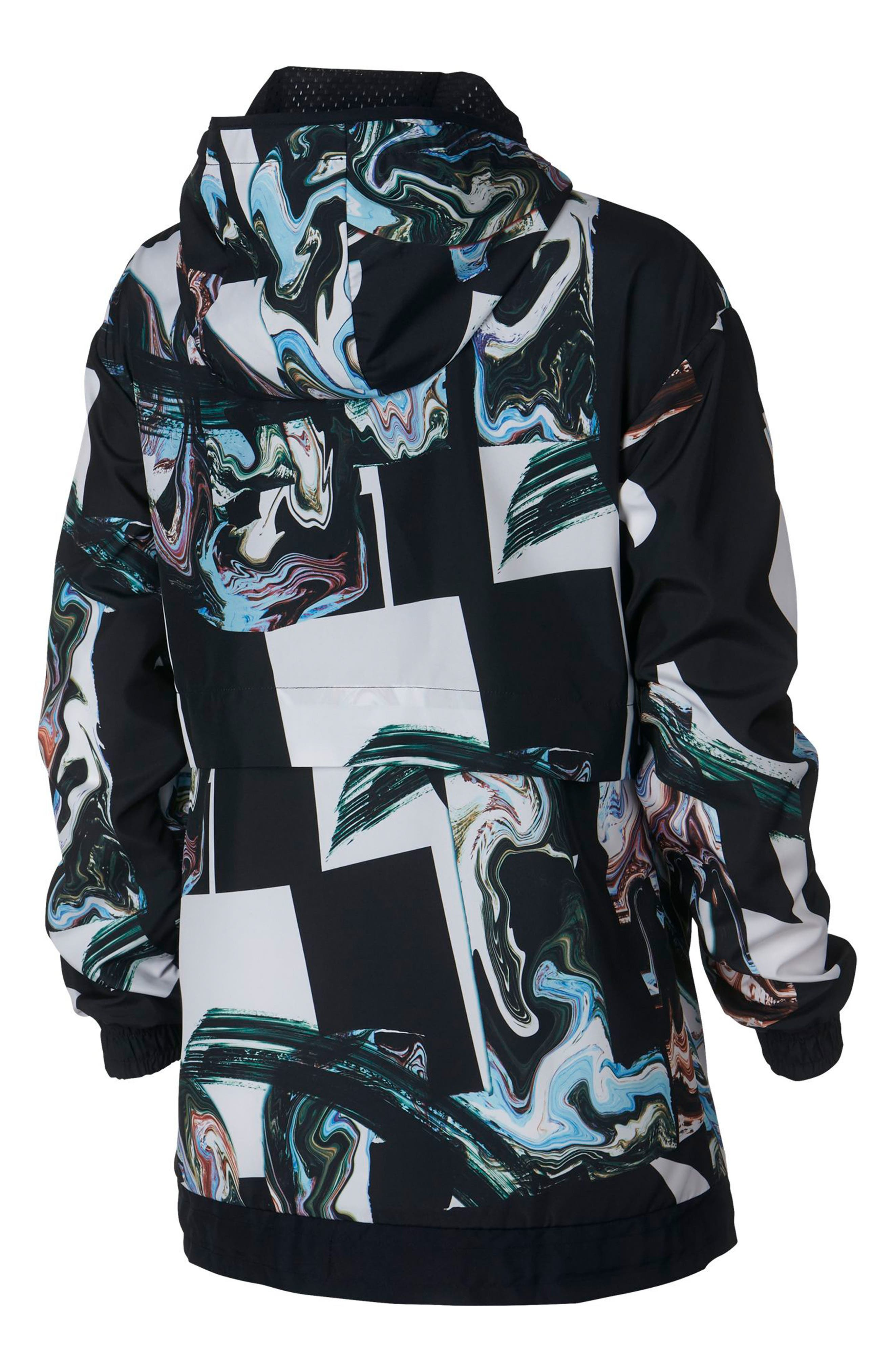 Sportswear Women's Marble Print Hooded Jacket,                             Alternate thumbnail 2, color,                             Black/ Black