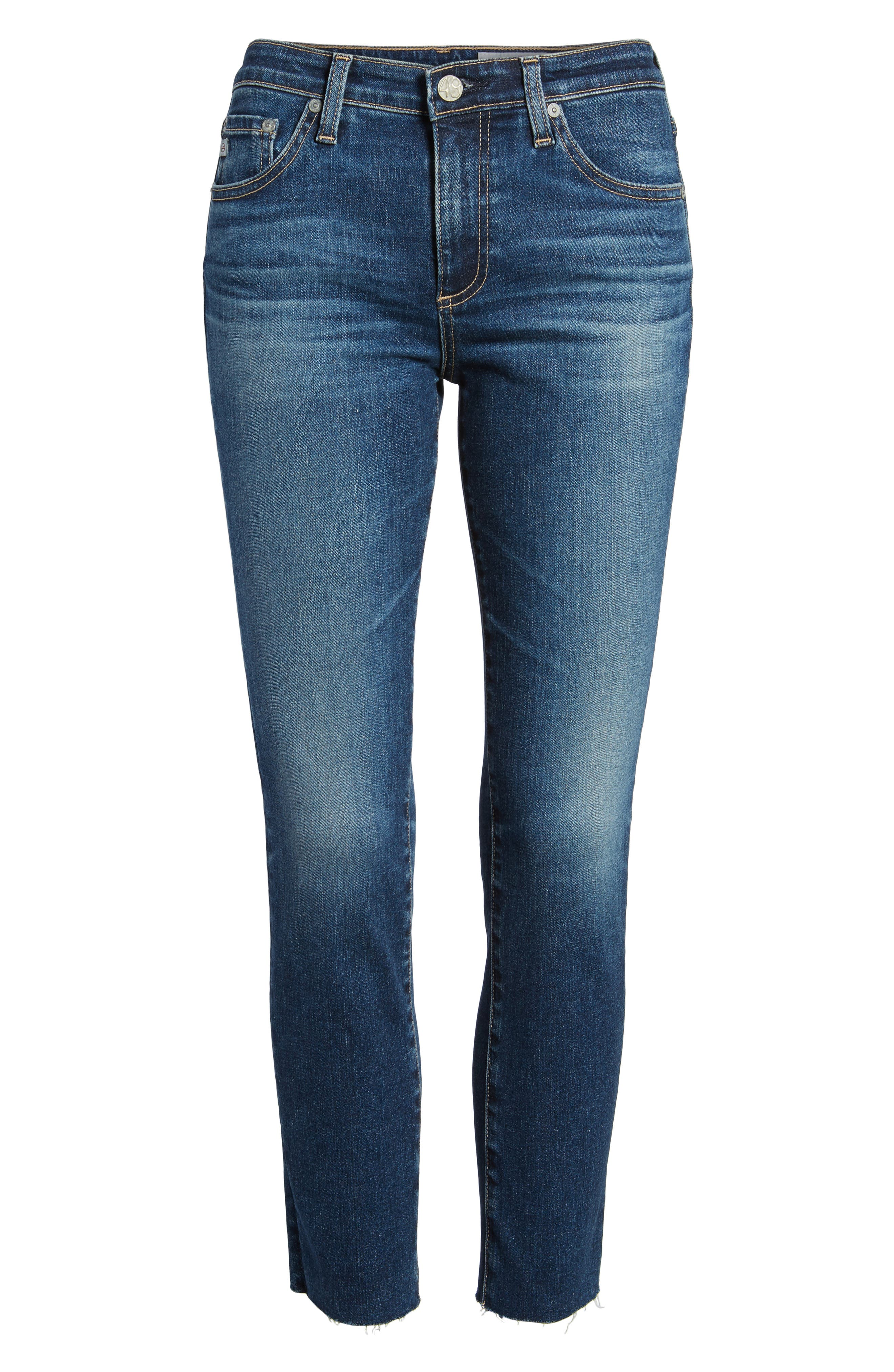 Prima Crop Skinny Jeans,                             Alternate thumbnail 7, color,                             5 Year Indigo Ave