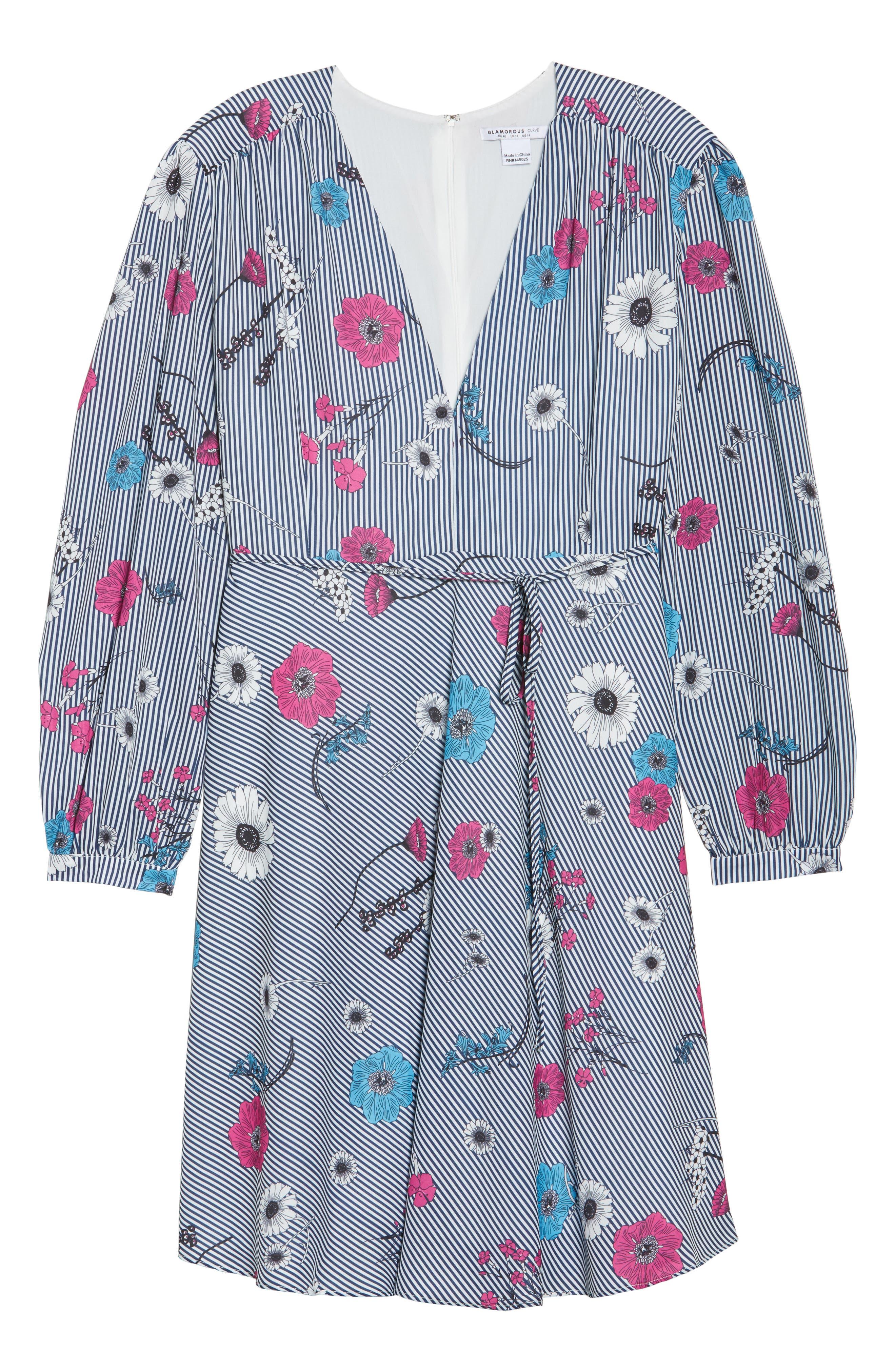 Floral Stripe Belted Dress,                             Alternate thumbnail 6, color,                             Blue Stripe Floral