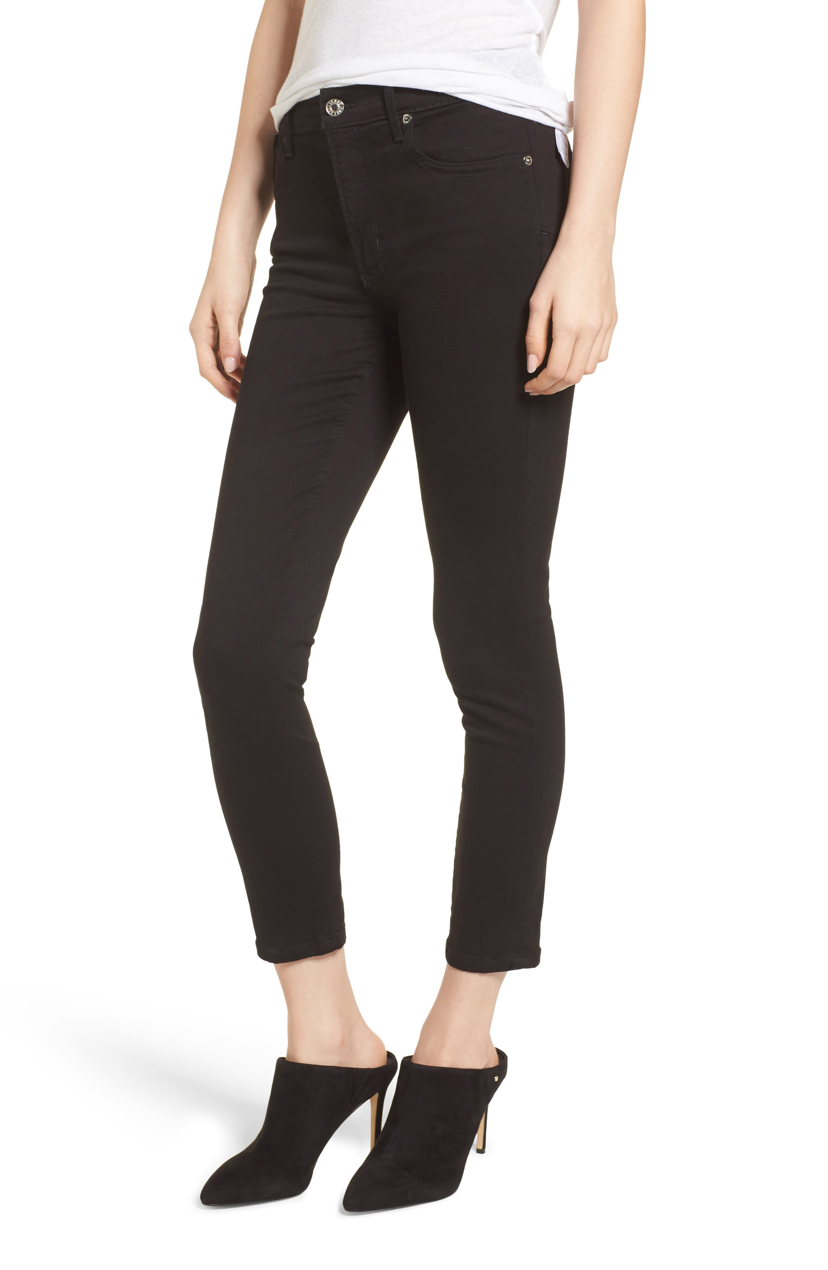 AGOLDE Sophie High Waist Crop Skinny Jeans (Jet)