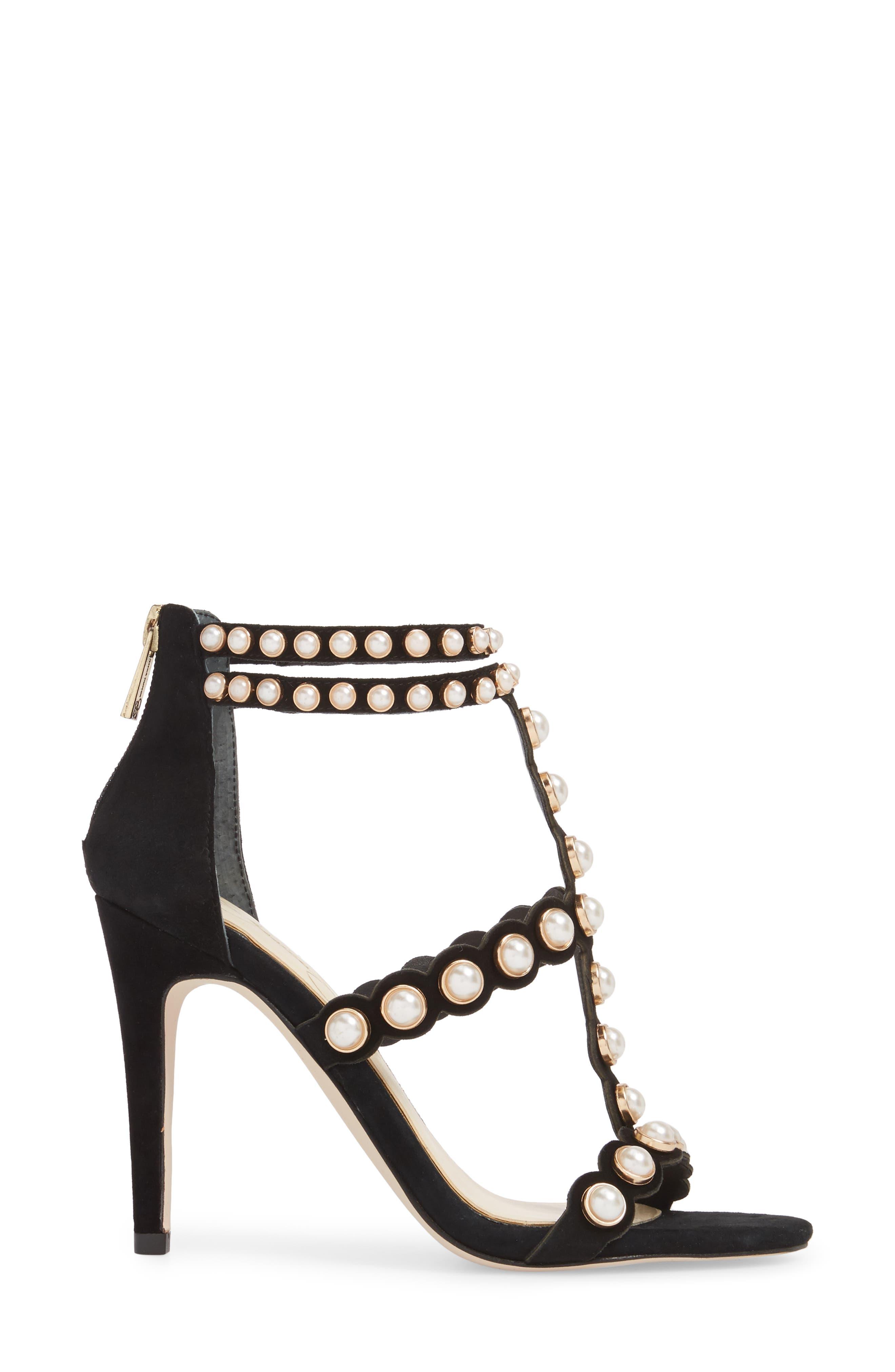Eleia Imitation Pearl Stud Sandal,                             Alternate thumbnail 3, color,                             Black Suede