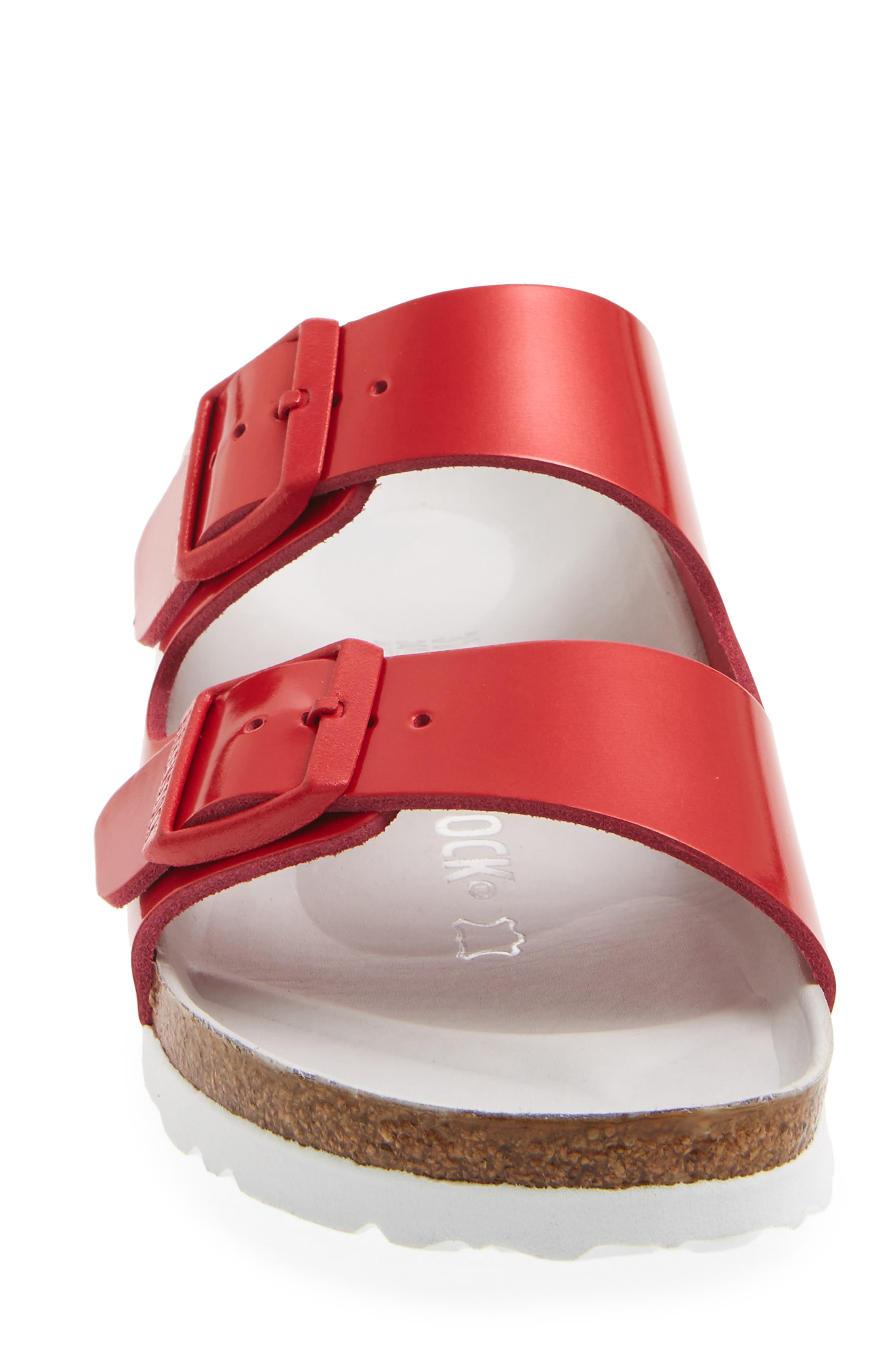 Arizona Hex Limited Edition - Shock Drop Slide Sandal,                             Alternate thumbnail 4, color,                             Red Spectacular Leather
