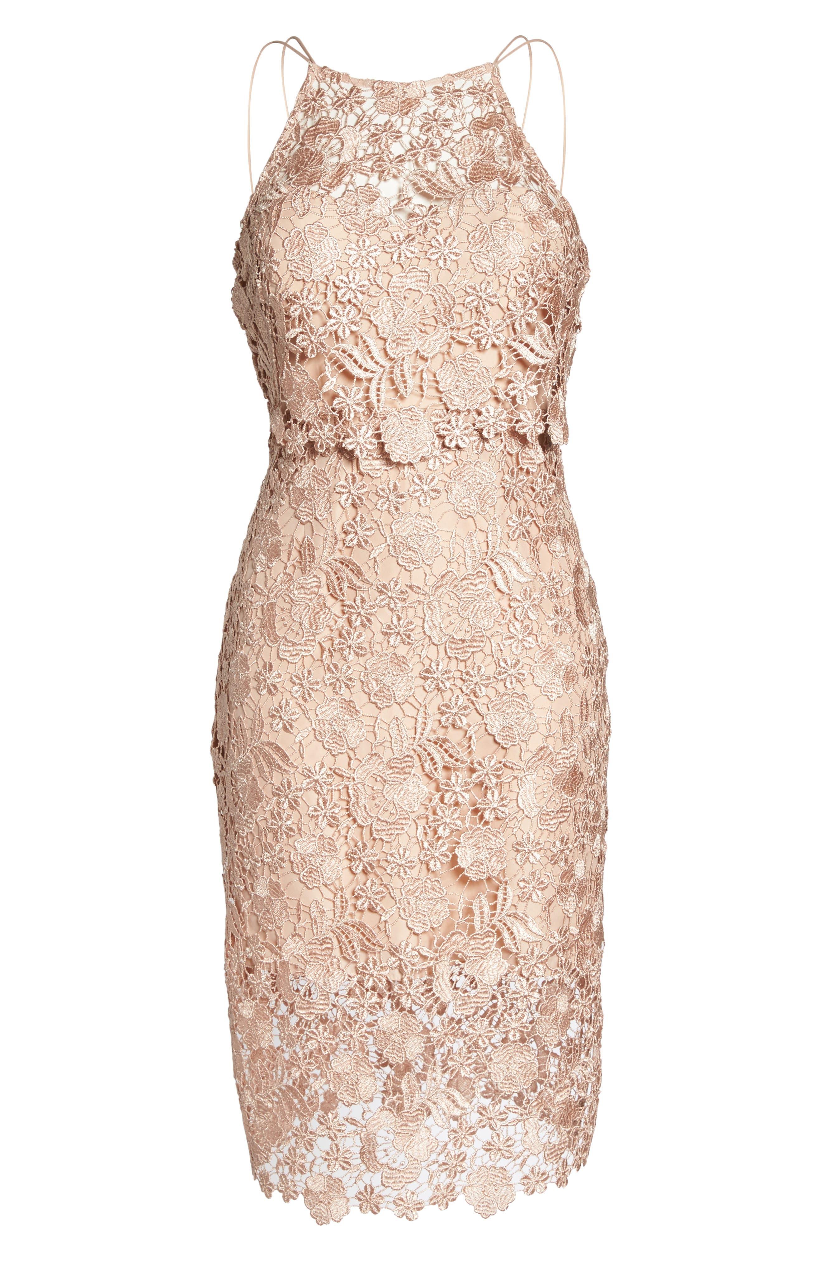 Freya Lace Sheath Dress,                             Alternate thumbnail 6, color,                             Cameo Pink