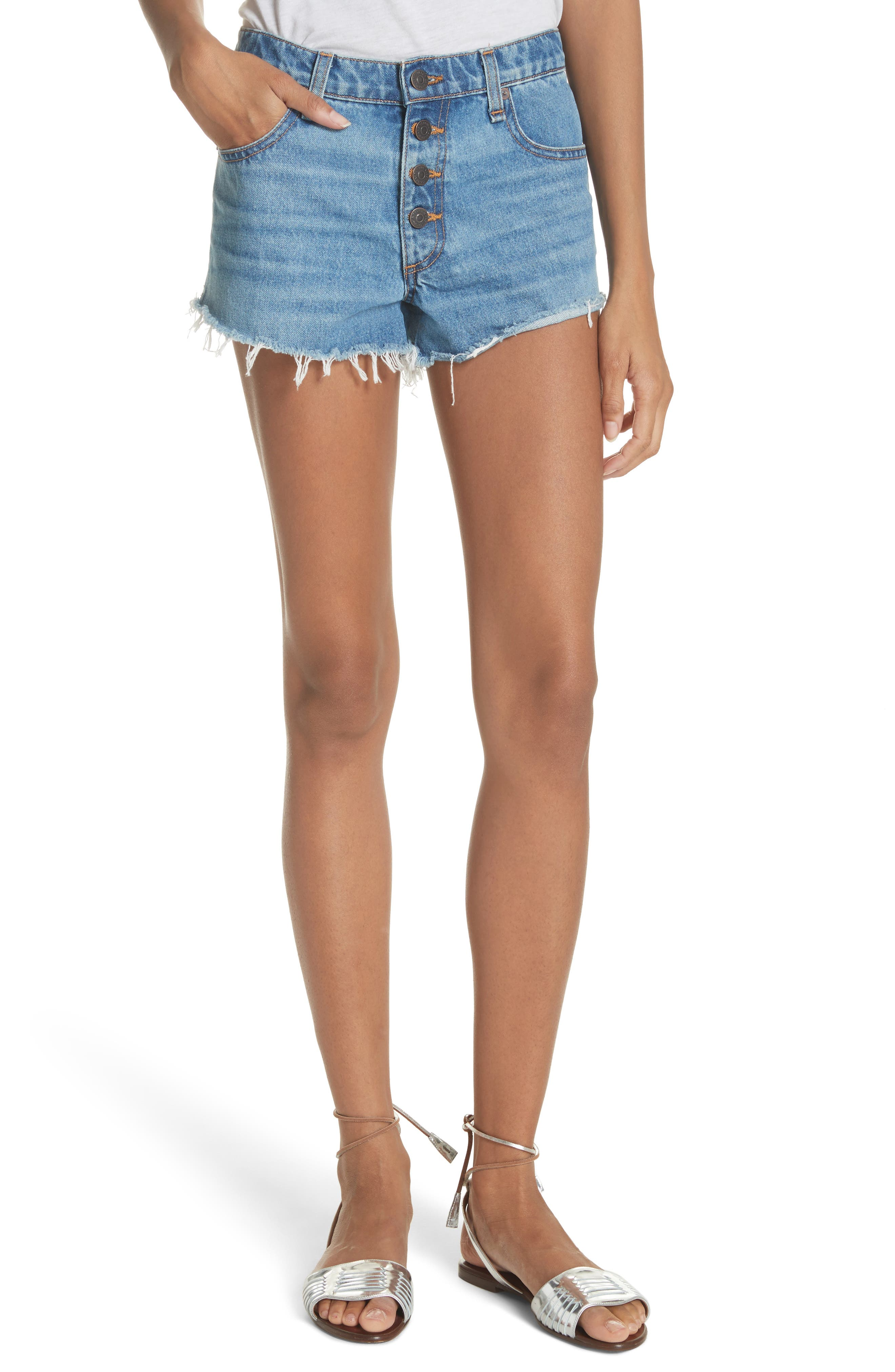 Debbie Denim Shorts,                         Main,                         color, Pipeline