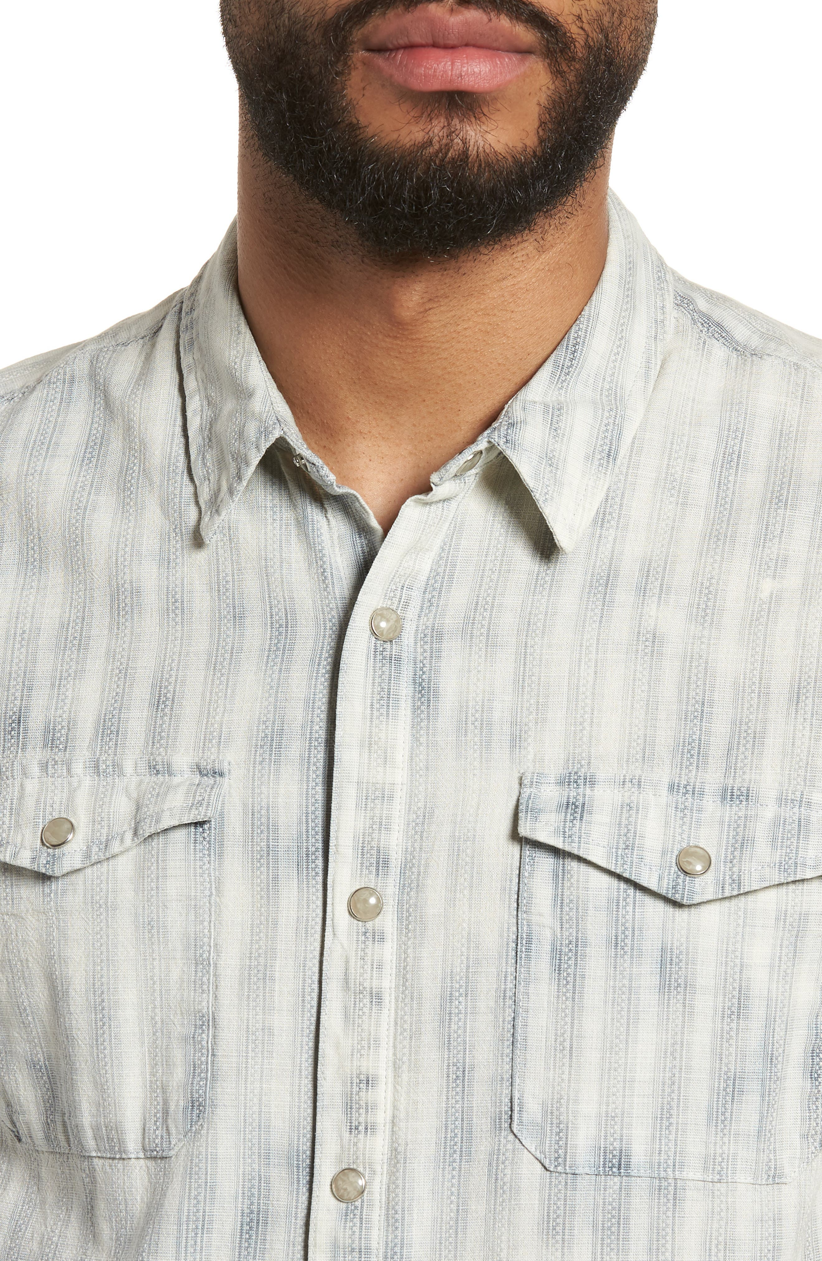 Extra Slim Fit Western Shirt,                             Alternate thumbnail 4, color,                             Reflection Grey