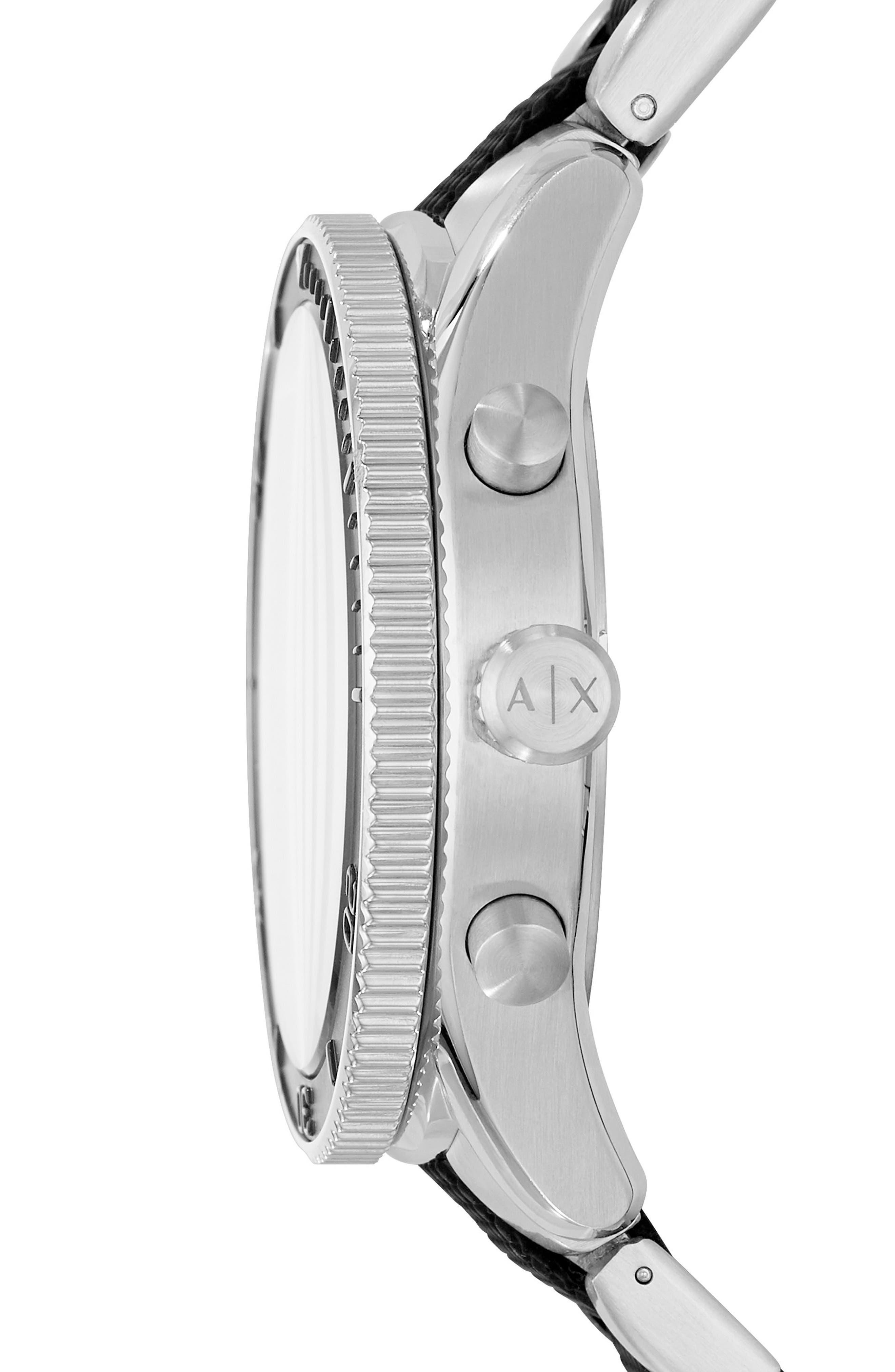 Chronograph Bracelet Watch, 46mm,                             Alternate thumbnail 2, color,                             Black/ Stainless Steel