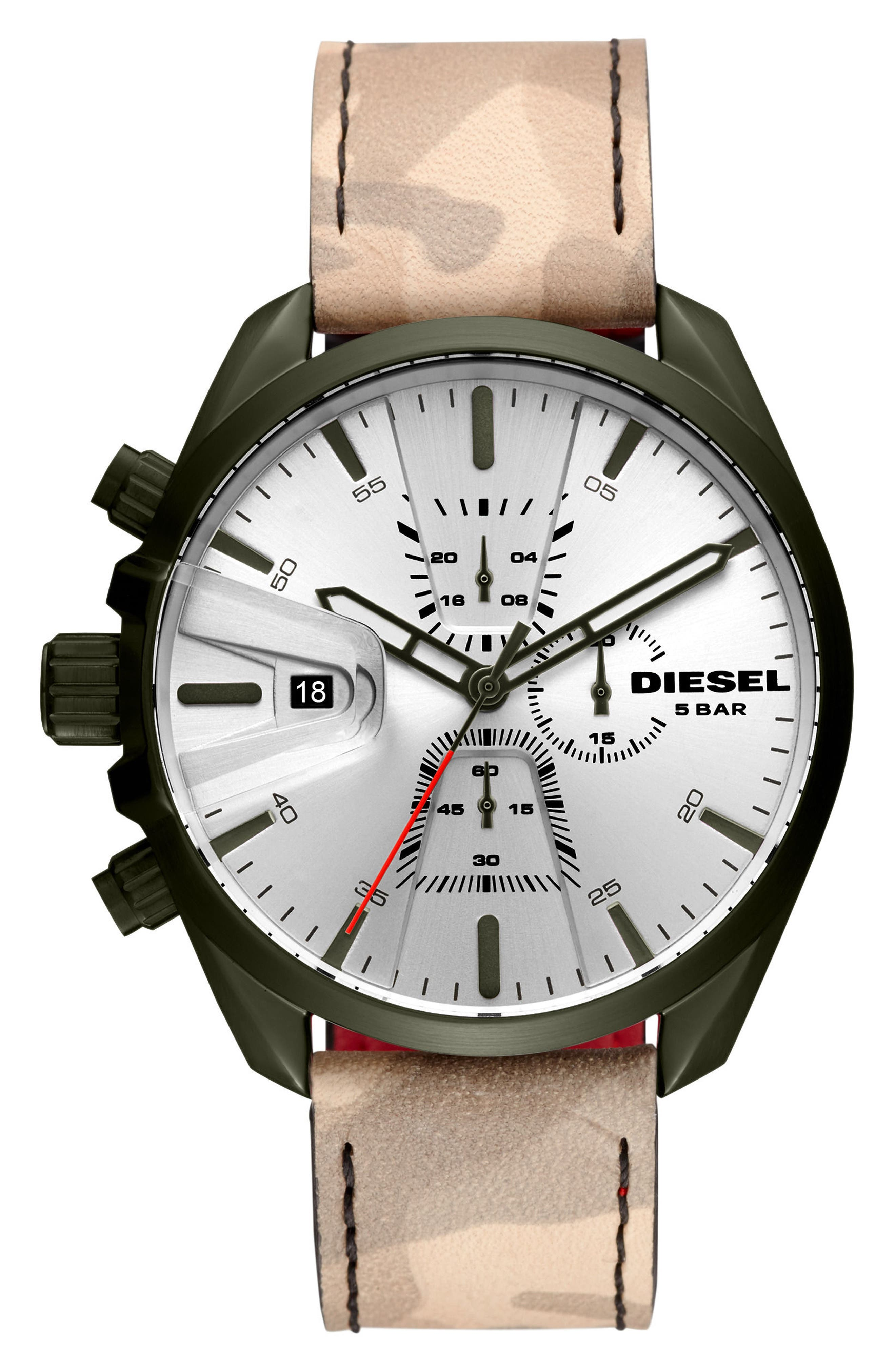 MS9 Chronograph Strap Watch, 47mm,                             Main thumbnail 1, color,                             Silver/ Camo