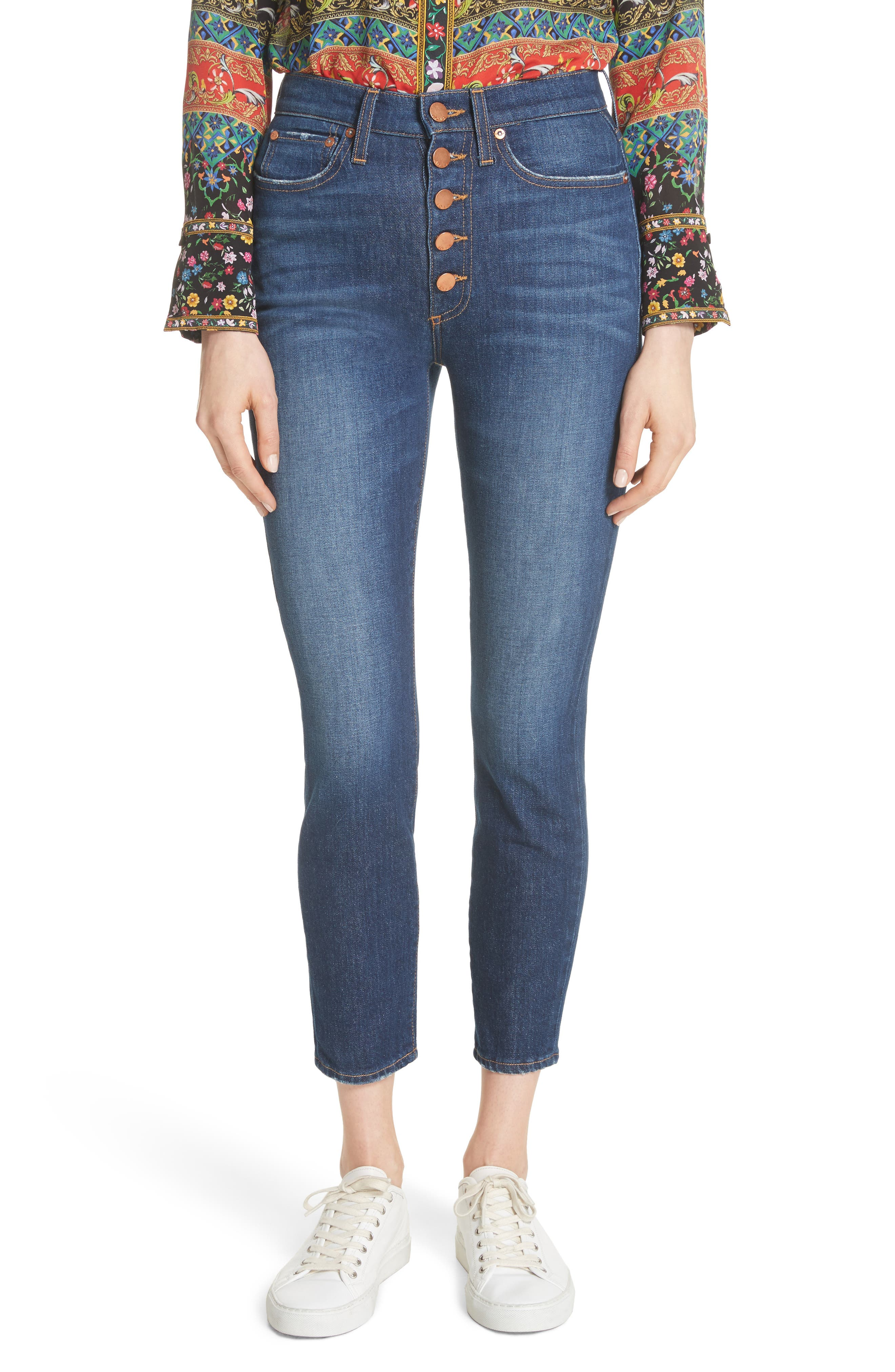 AO.LA Good High Waist Exposed Button Skinny Jeans,                         Main,                         color, Good Times