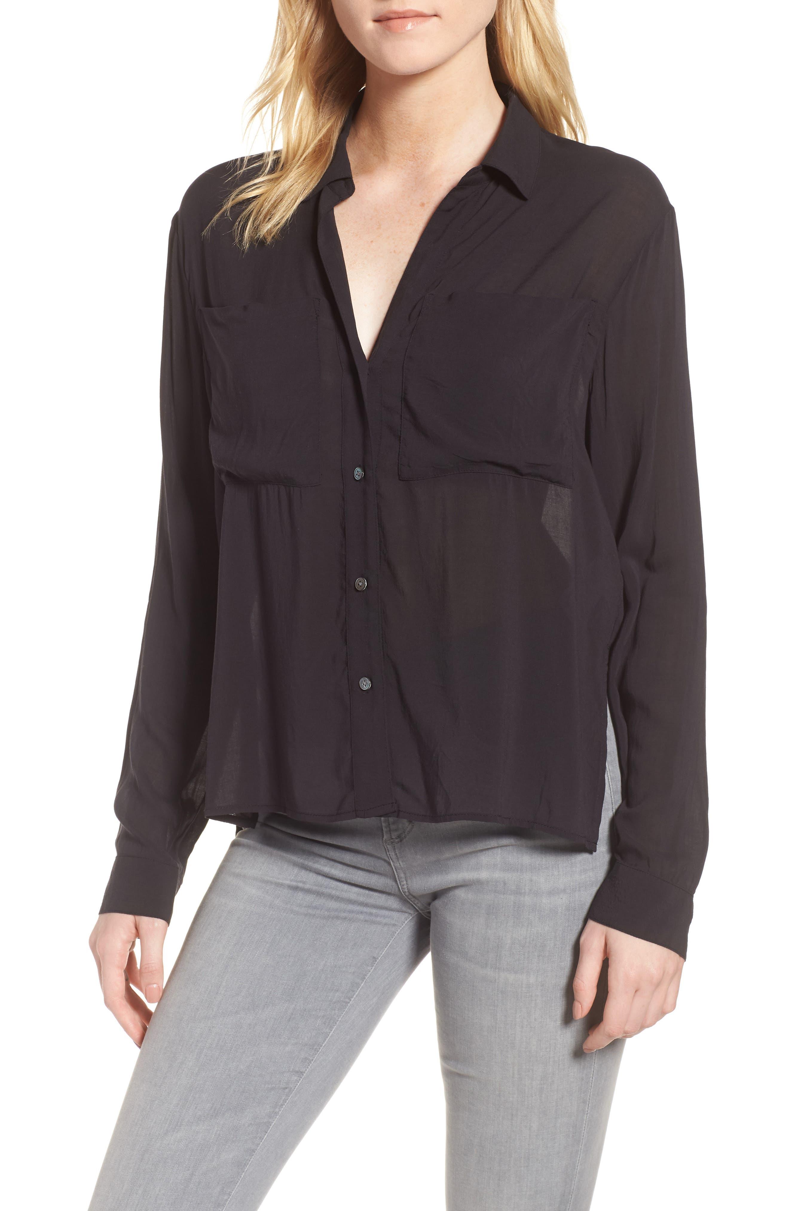 Relaxed Chiffon Shirt,                             Main thumbnail 1, color,                             Carbon